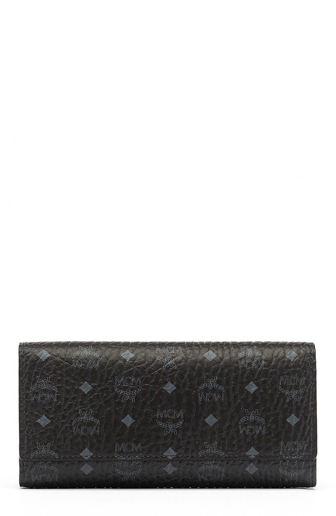 Visetos Coated Canvas Continental Wallet,                             Main thumbnail 1, color,                             001