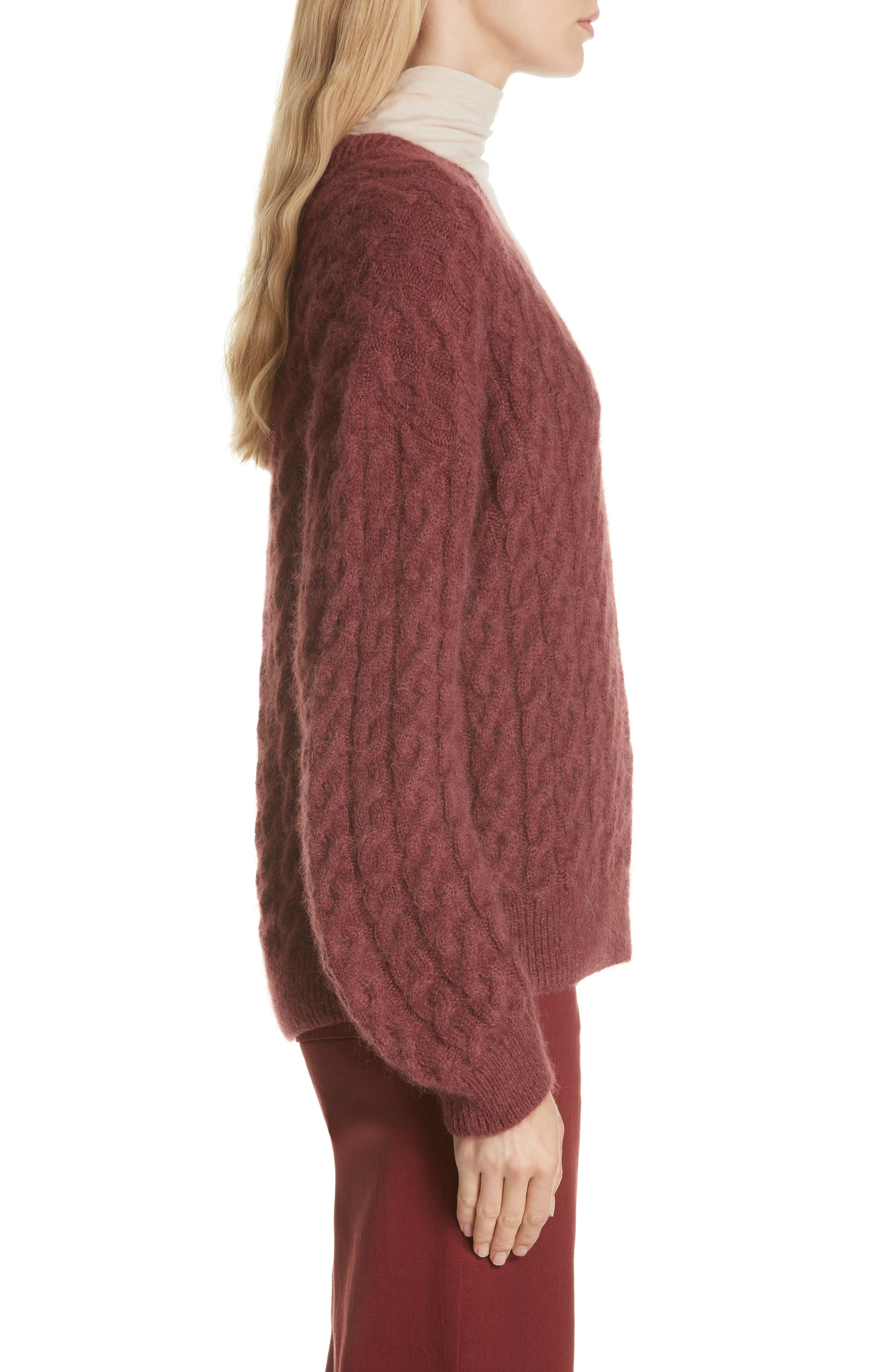 Cable Knit Sweater,                             Alternate thumbnail 3, color,                             ANISE