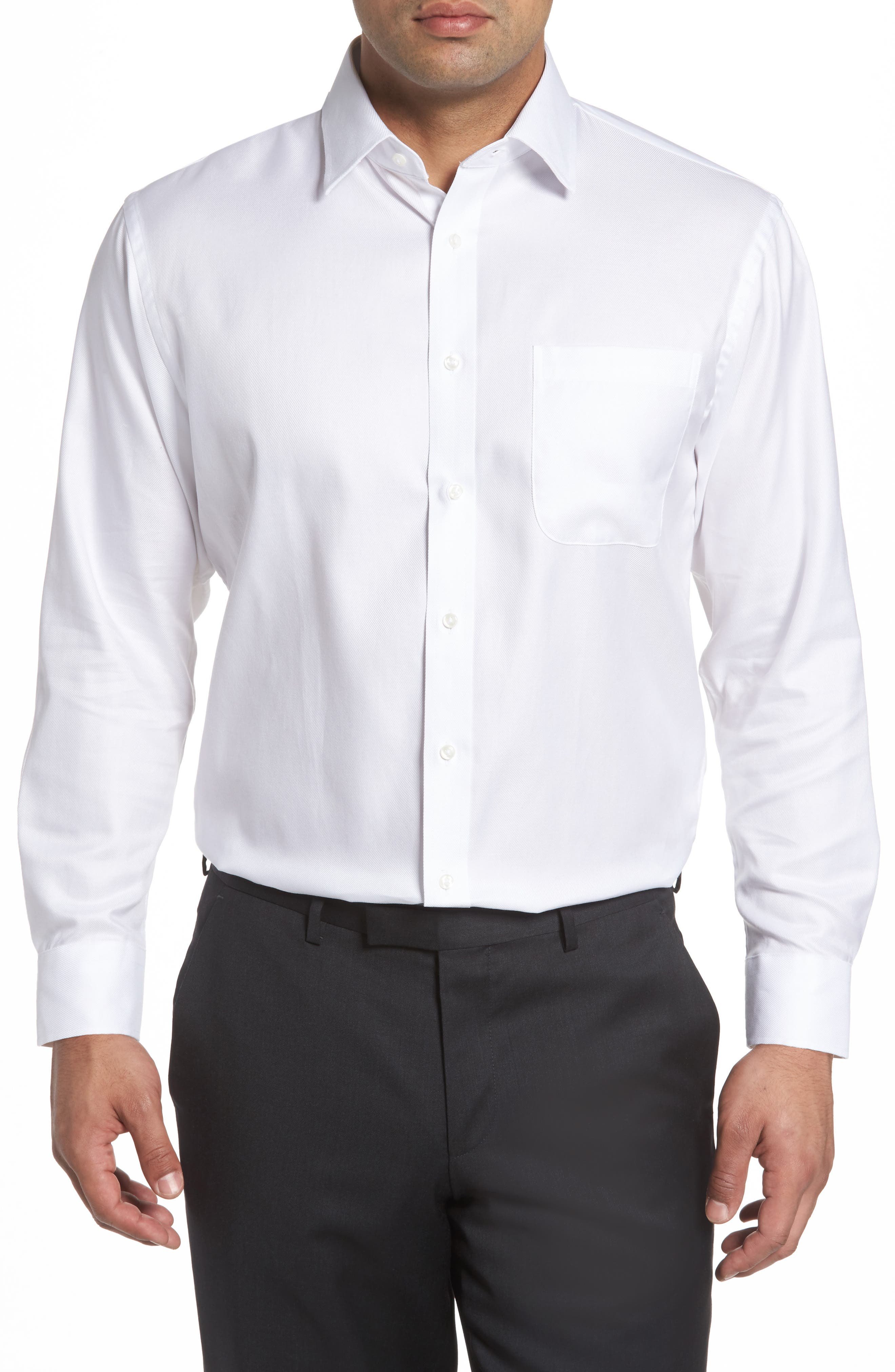 Traditional Fit Solid Dress Shirt,                         Main,                         color, WHITE