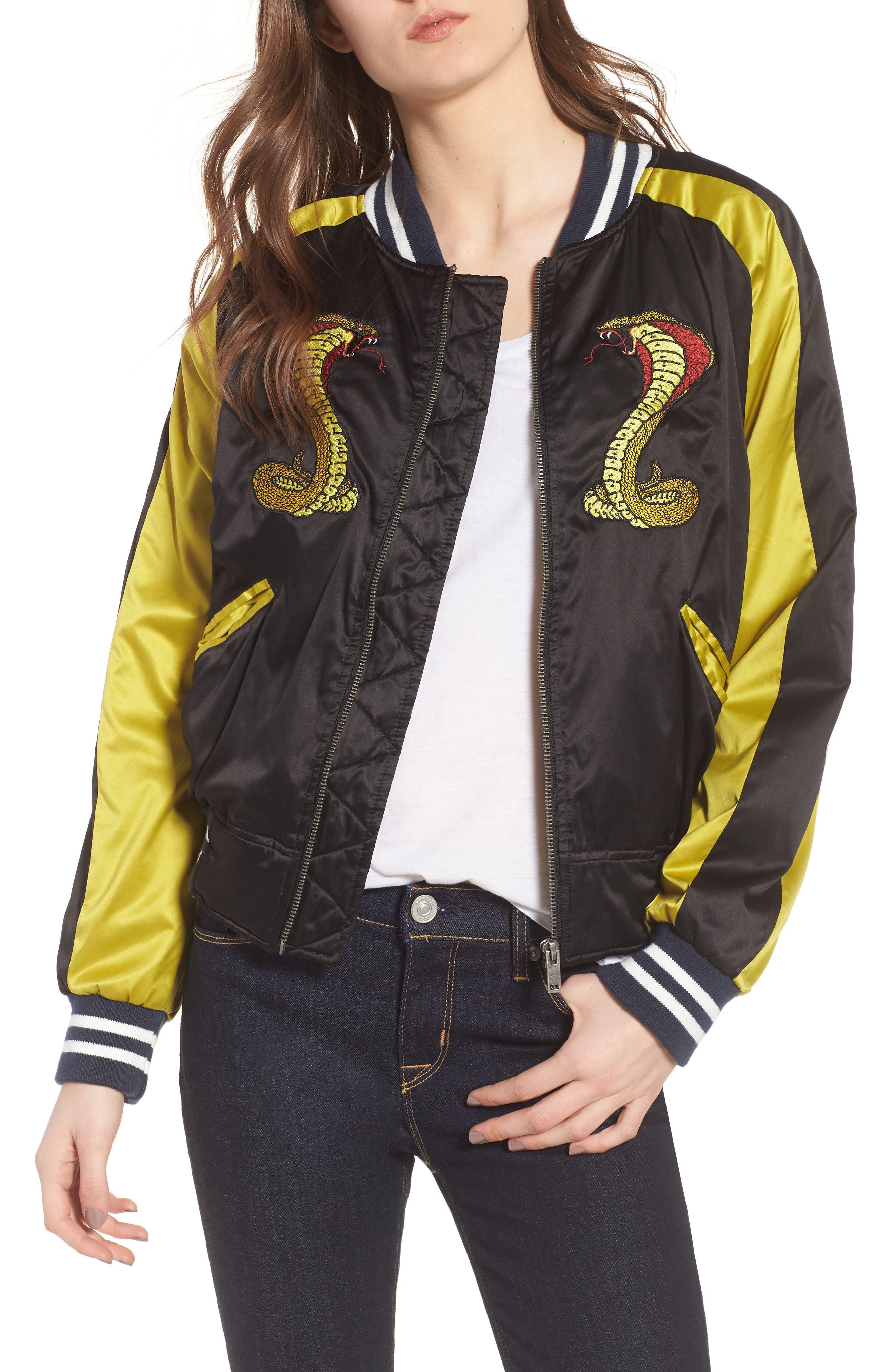 Snake Satin Bomber Jacket, Main, color, 001
