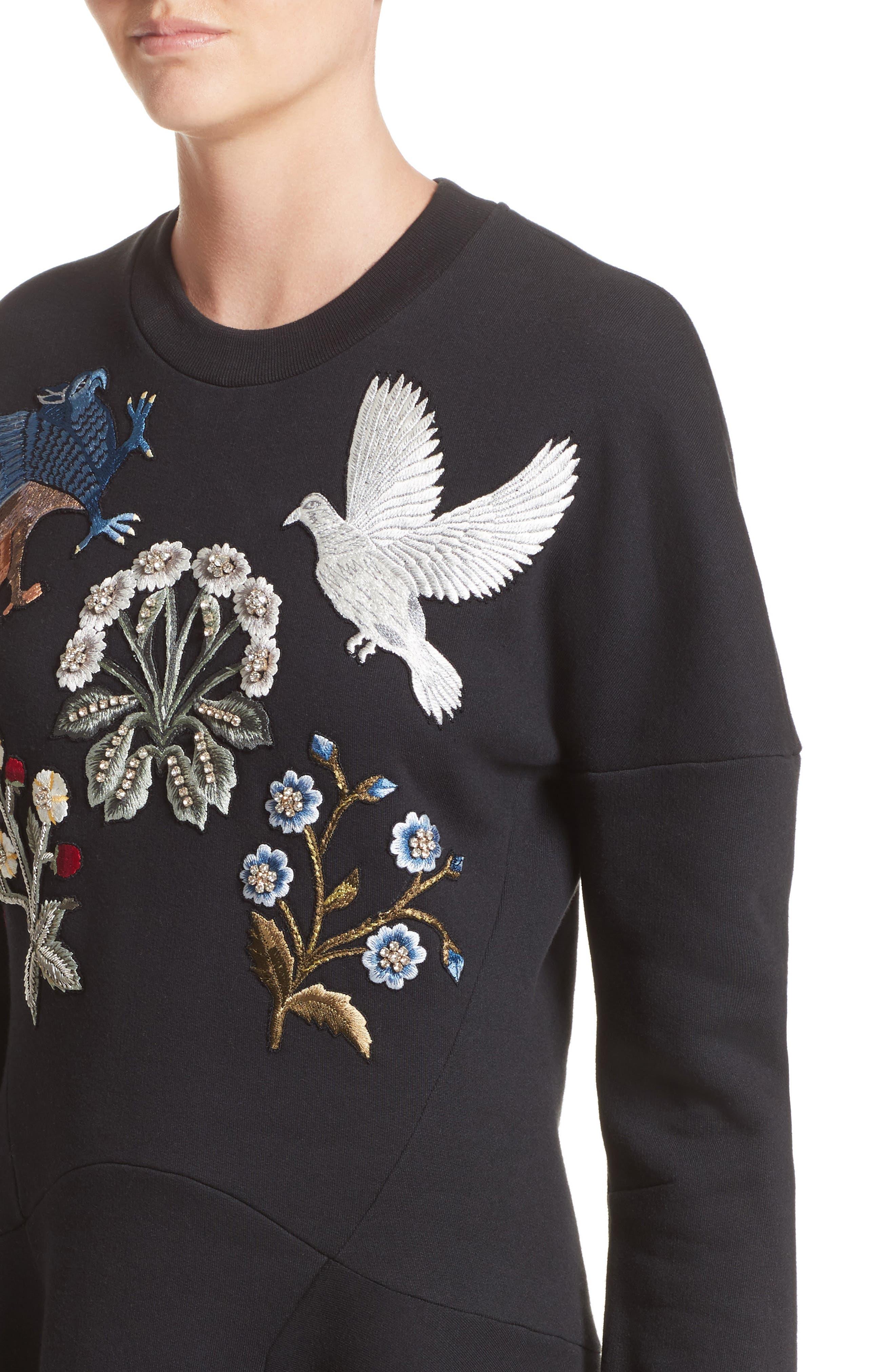 Embroidered Sweatshirt Dress,                             Alternate thumbnail 4, color,                             002