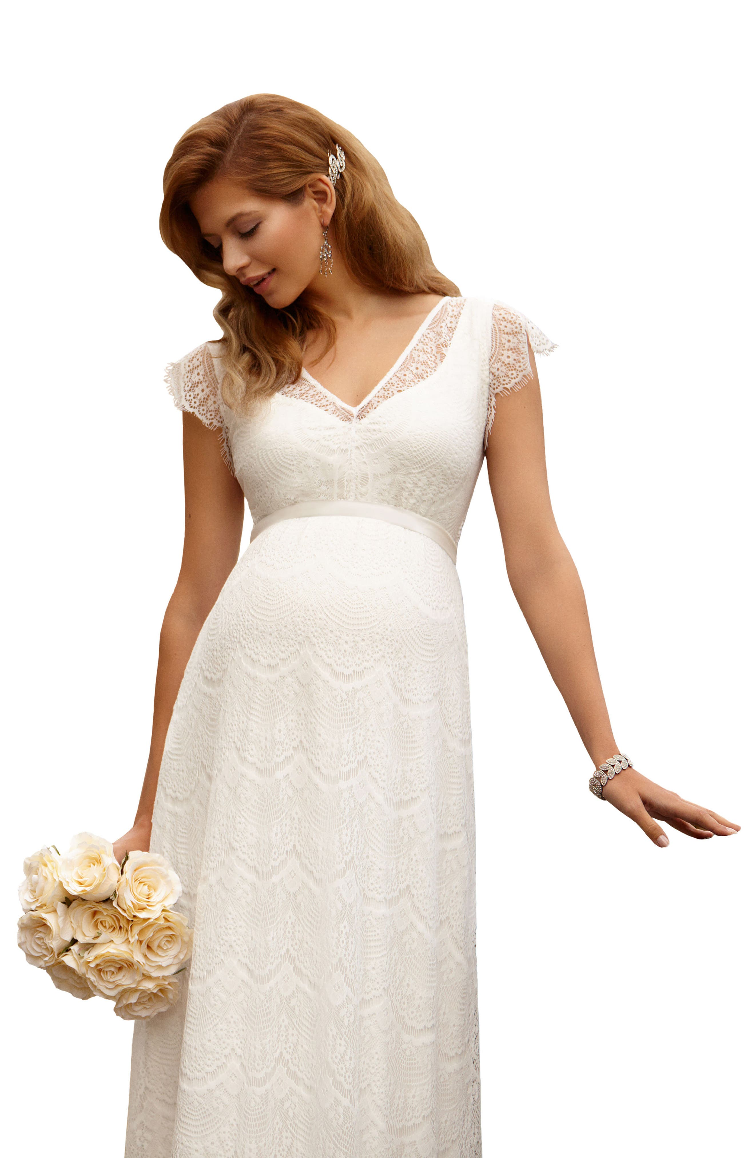 Kristin Long Lace Maternity Gown,                             Alternate thumbnail 3, color,                             IVORY