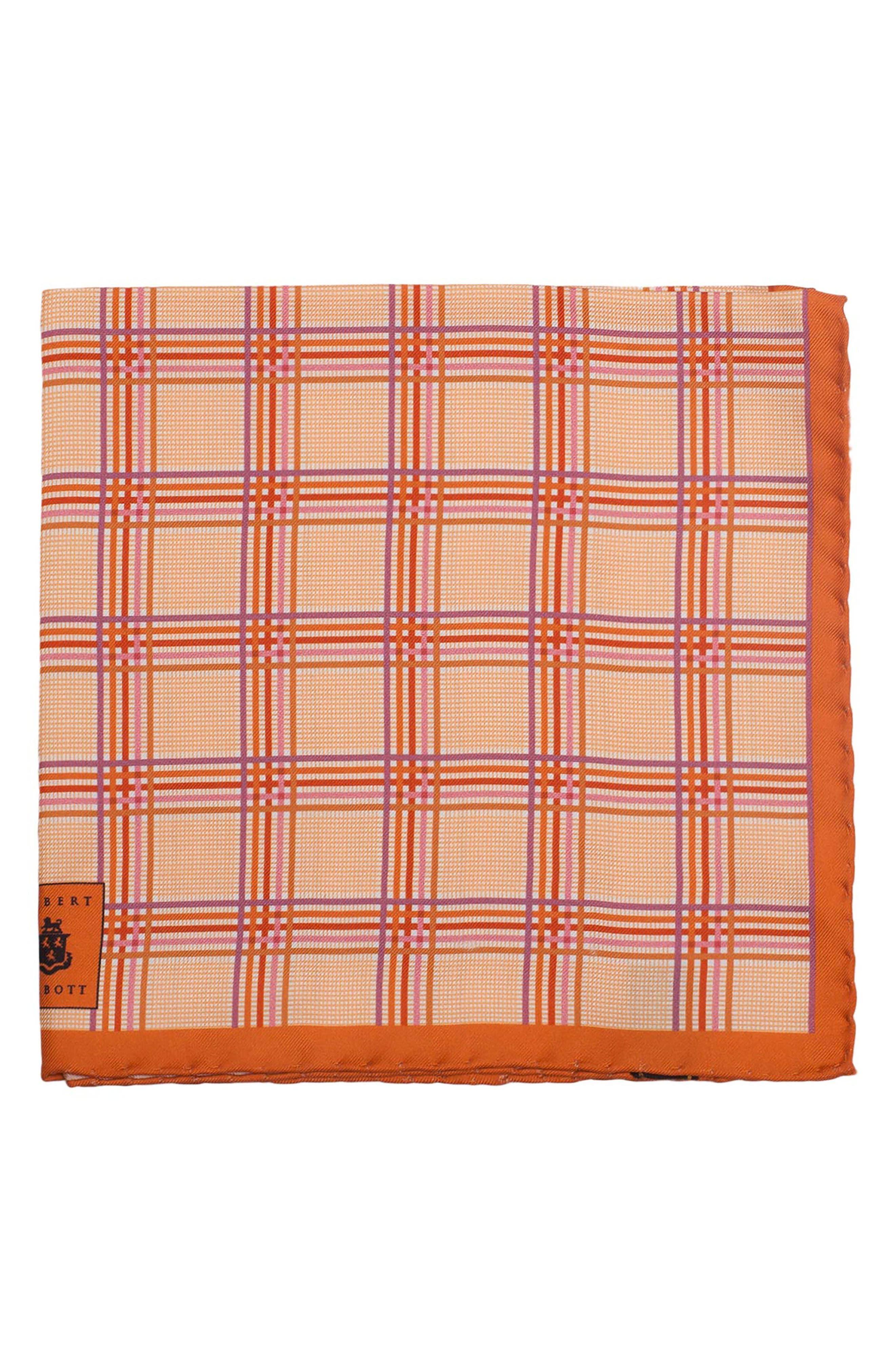 Plaid Silk Pocket Square,                             Main thumbnail 6, color,