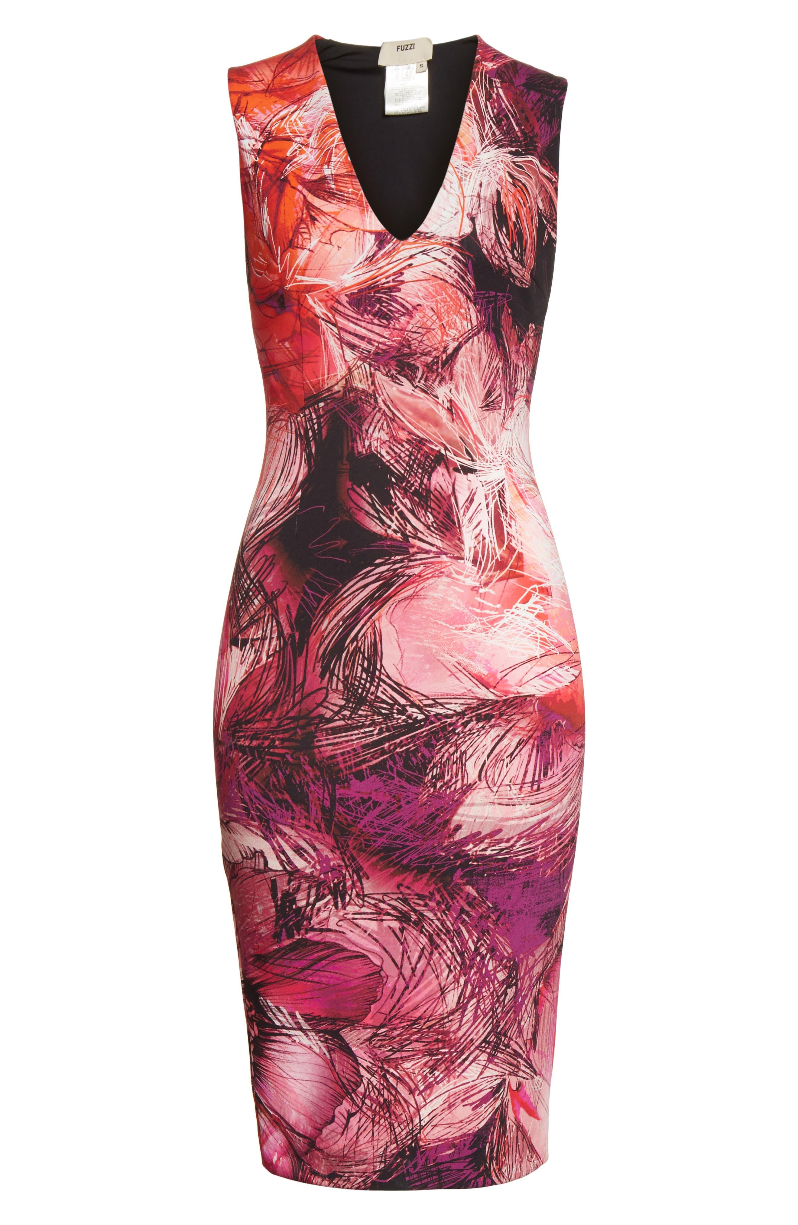 Print Sheath Dress,                             Alternate thumbnail 6, color,                             650