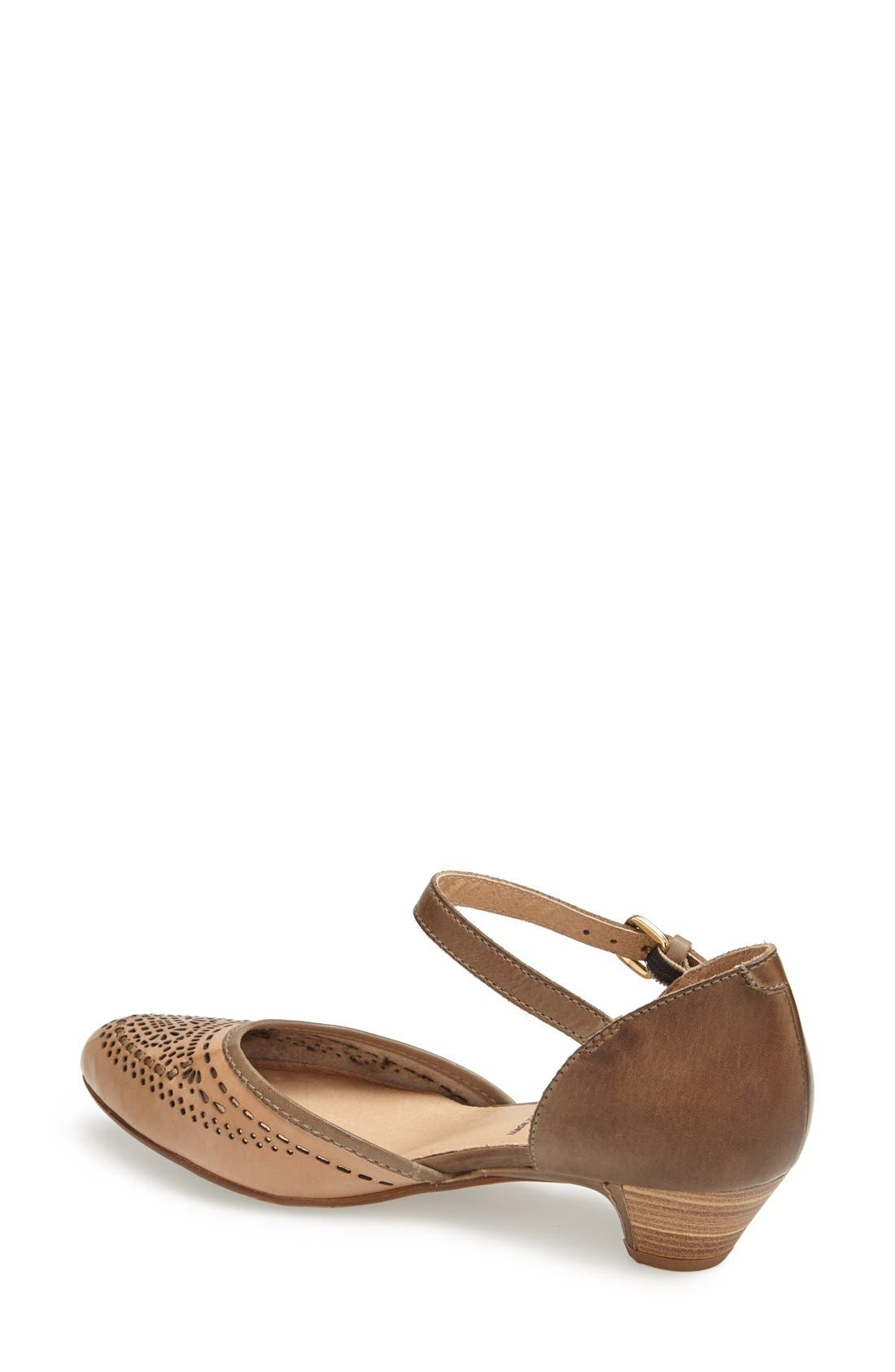 'Elba' Perforated Leather Ankle Strap Sandal,                             Alternate thumbnail 4, color,