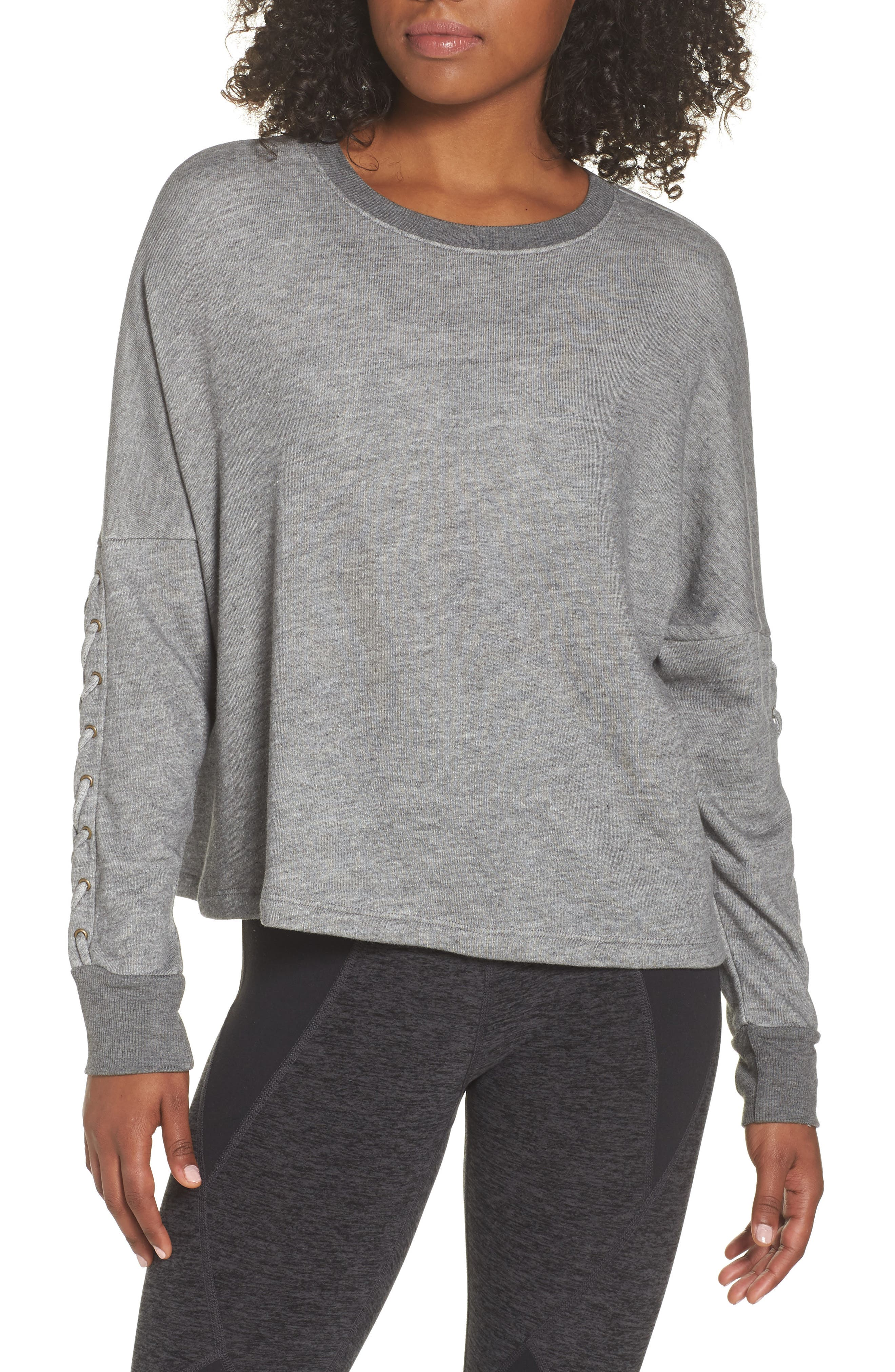 Laced Sleeve Pullover,                             Main thumbnail 1, color,                             MID HEATHER GREY