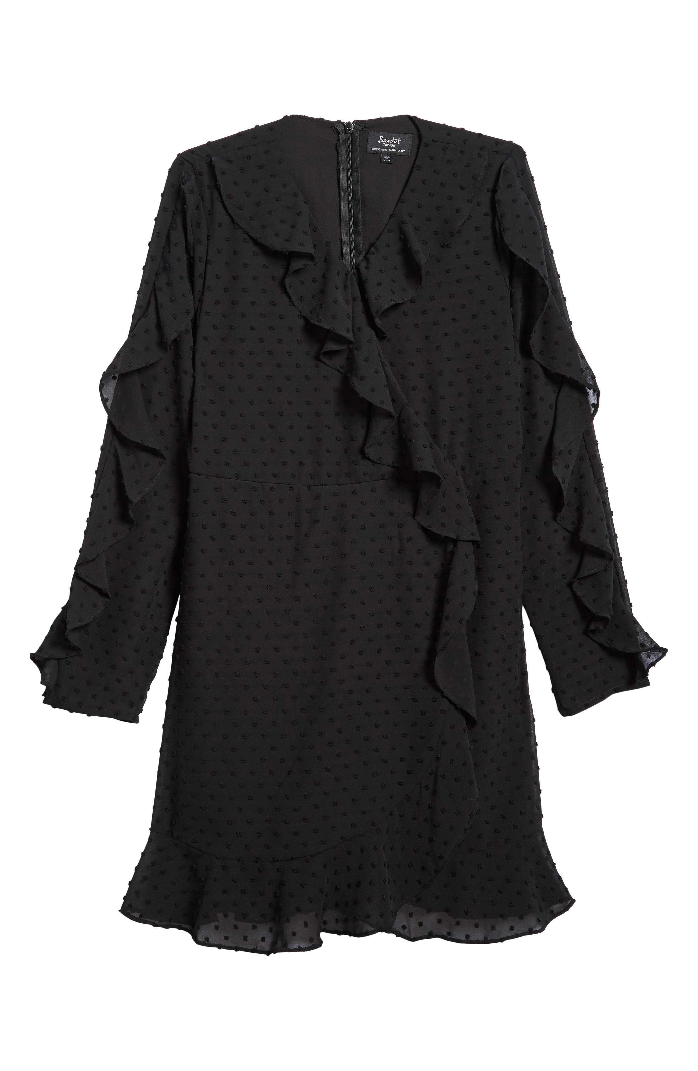 Ruffle Dobby Georgette Dress,                             Main thumbnail 1, color,                             001