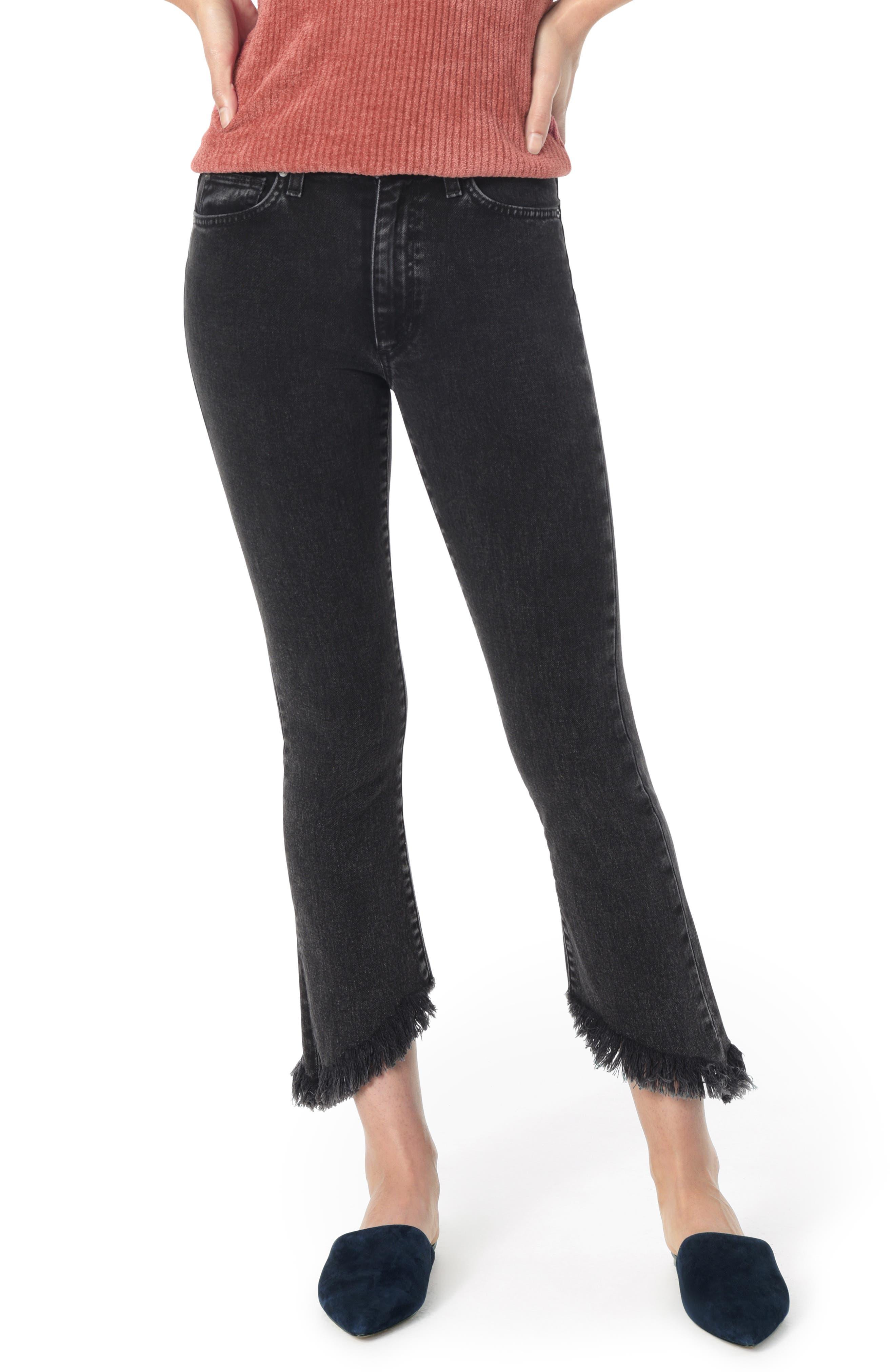 The Callie High Waist Frayed Crop Bootcut Jeans, Main, color, AUDREY