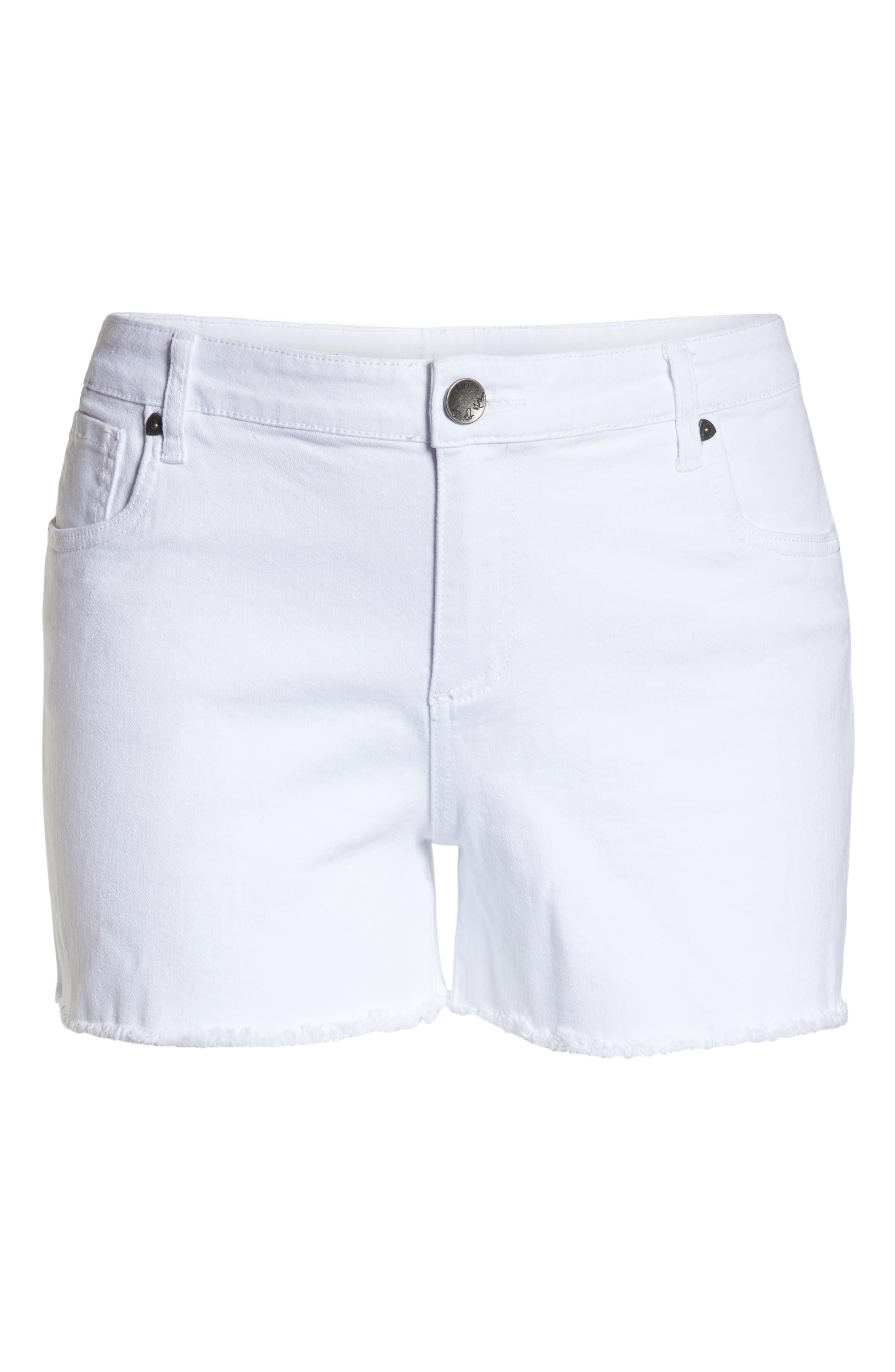 Gidget Raw Hem Shorts,                             Alternate thumbnail 8, color,                             OPTIC WHITE
