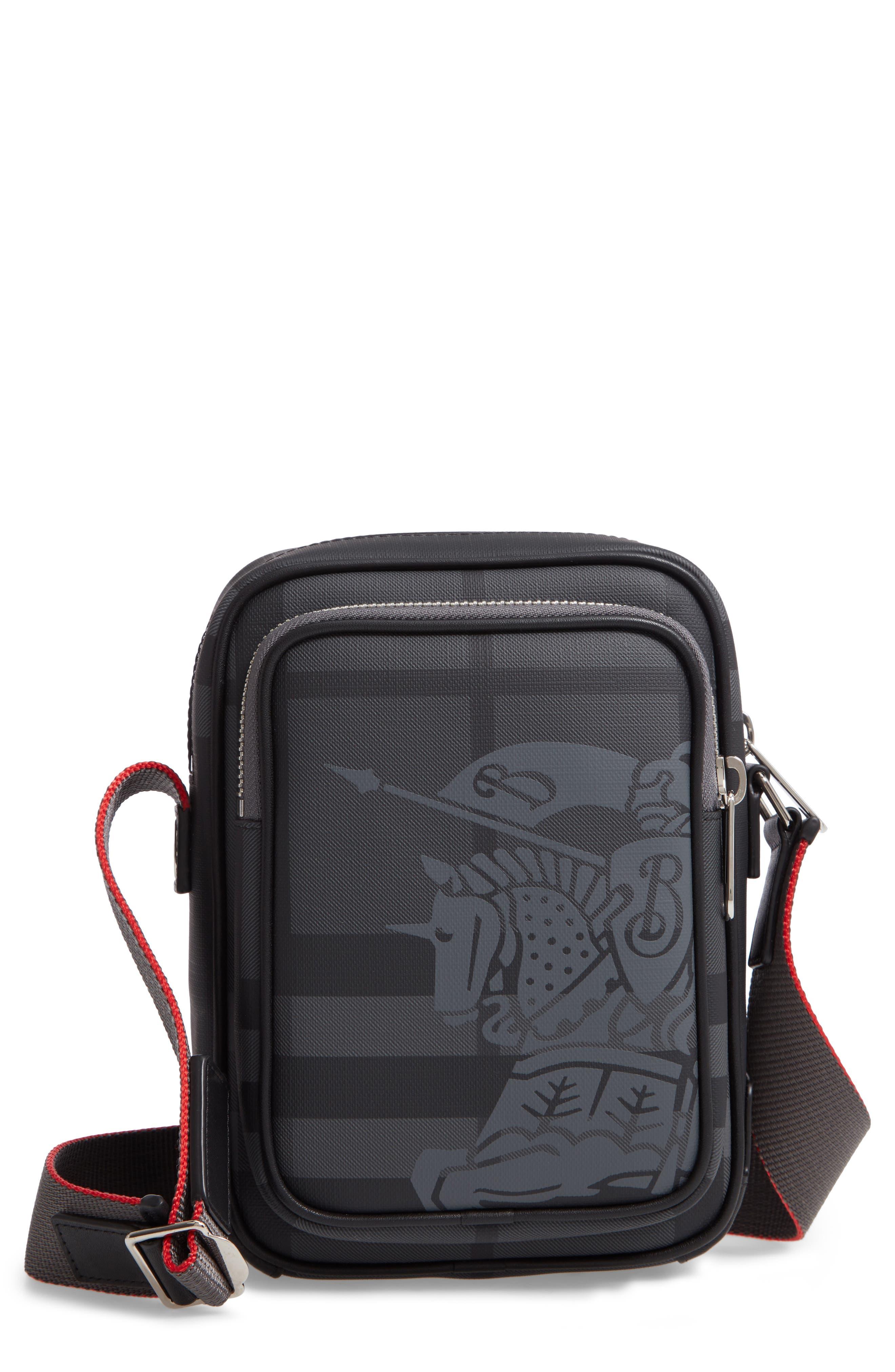 Freddie London Check Compact Messenger Bag, Main, color, CHARCOAL BLACK