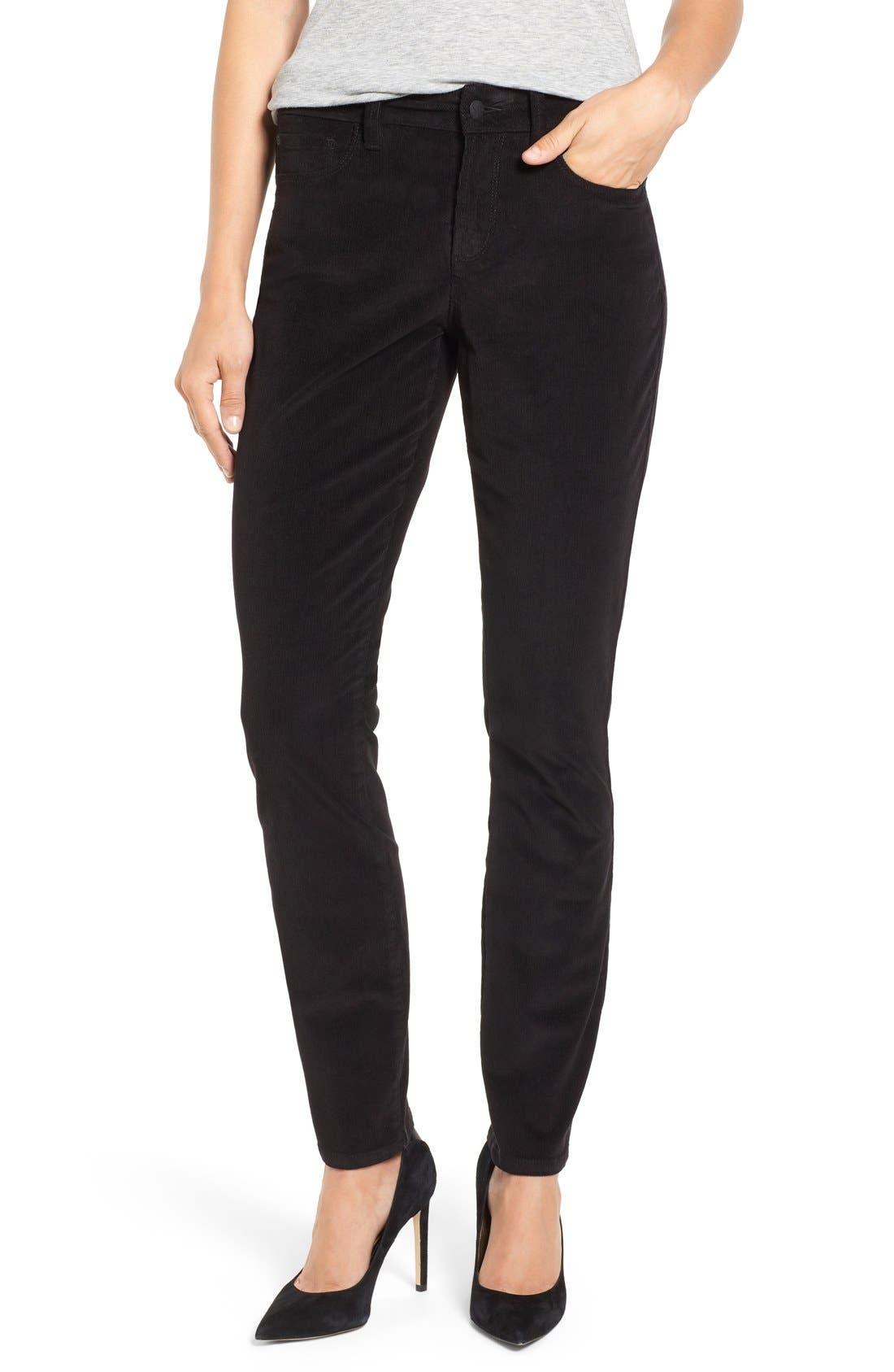 'Alina' Skinny Stretch Corduroy Pants, Main, color, 001