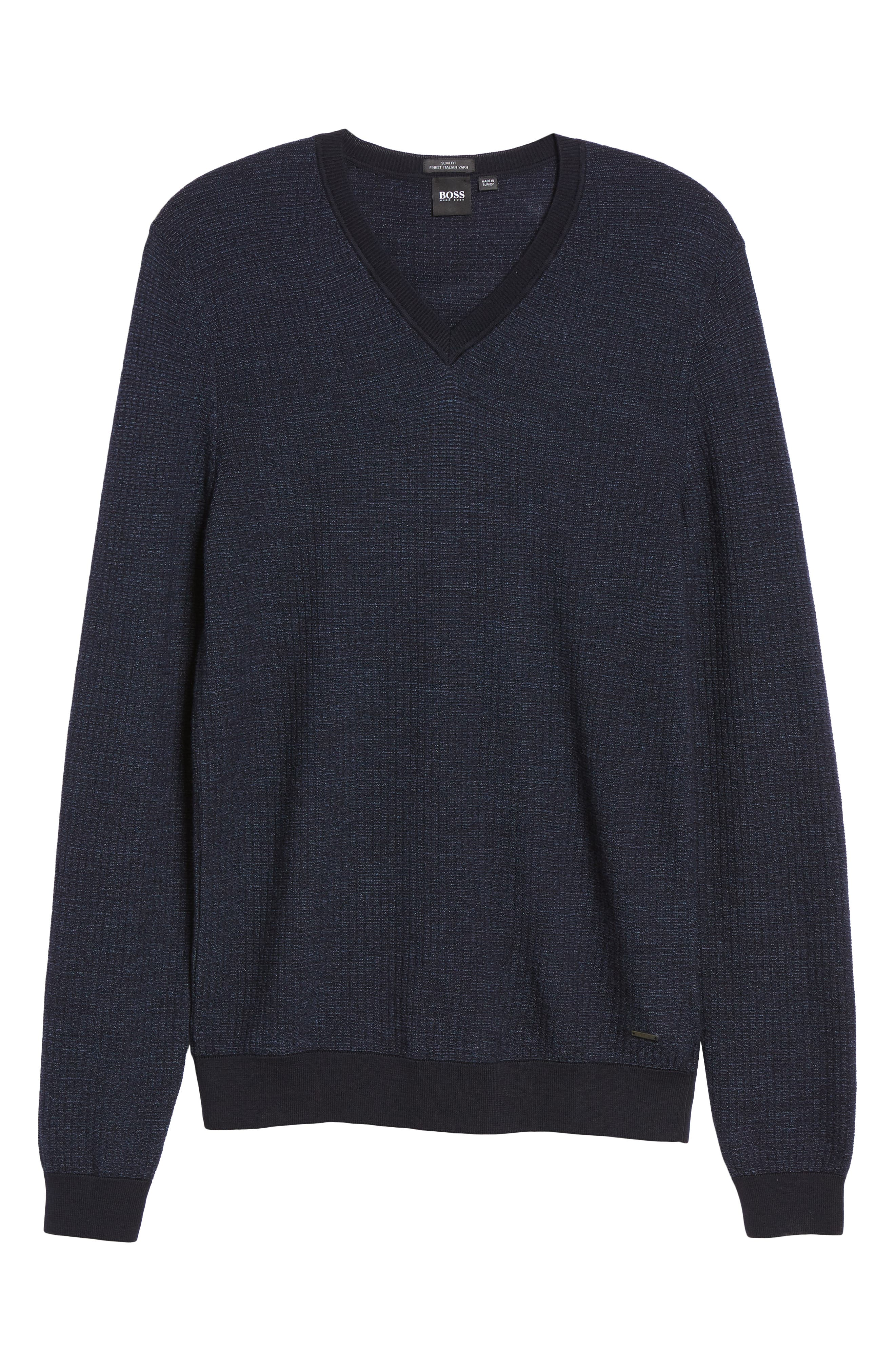 Emauro Mouline V-Neck Slim Fit Sweater,                             Alternate thumbnail 6, color,                             BLUE