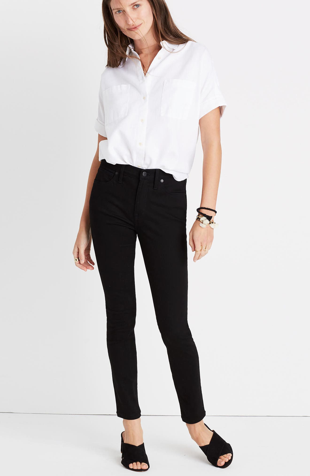 9-Inch High-Rise Skinny Jeans,                             Alternate thumbnail 4, color,                             001