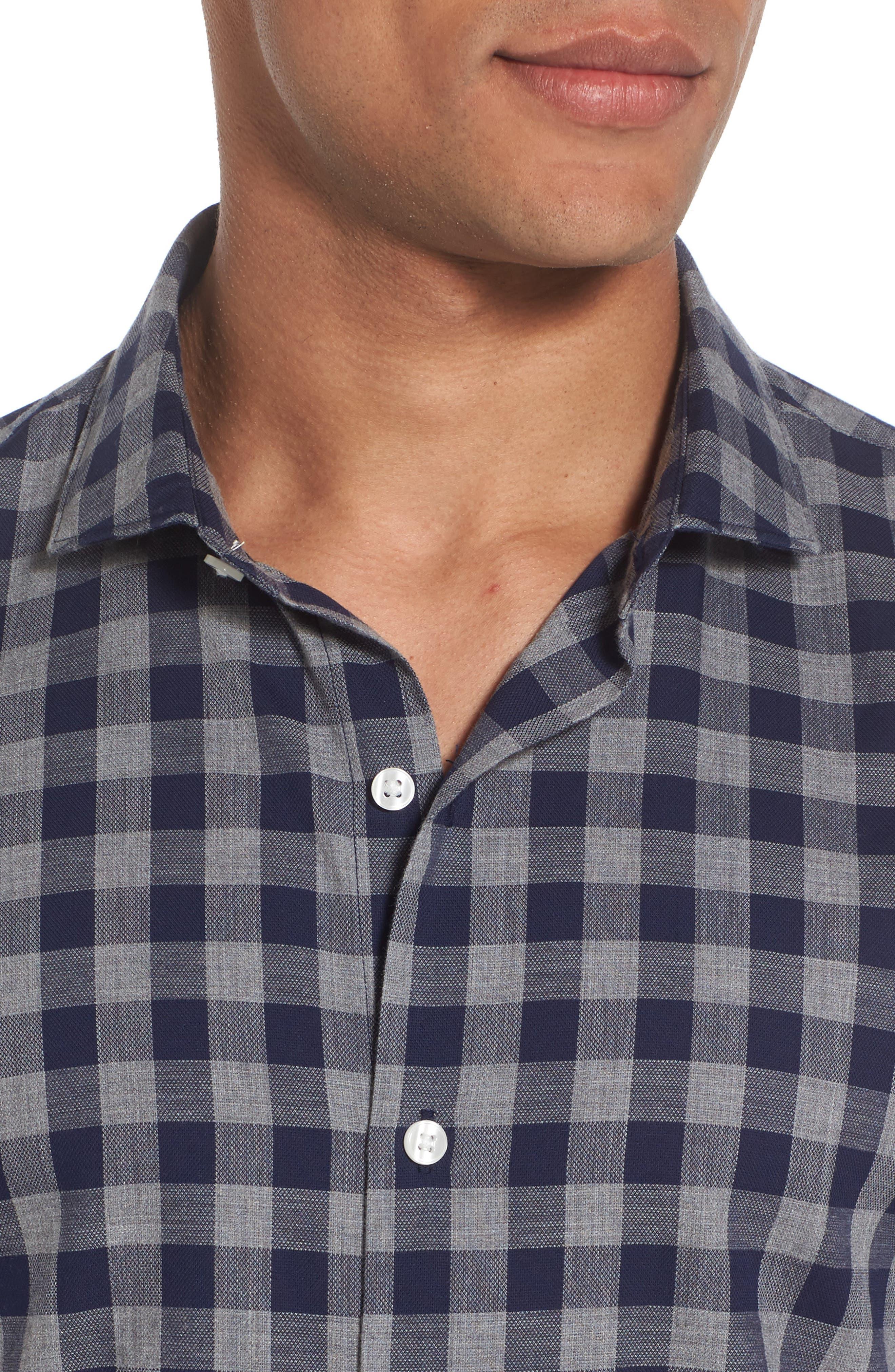 Unbutton Down Slim Fit Check Sport Shirt,                             Alternate thumbnail 4, color,                             400