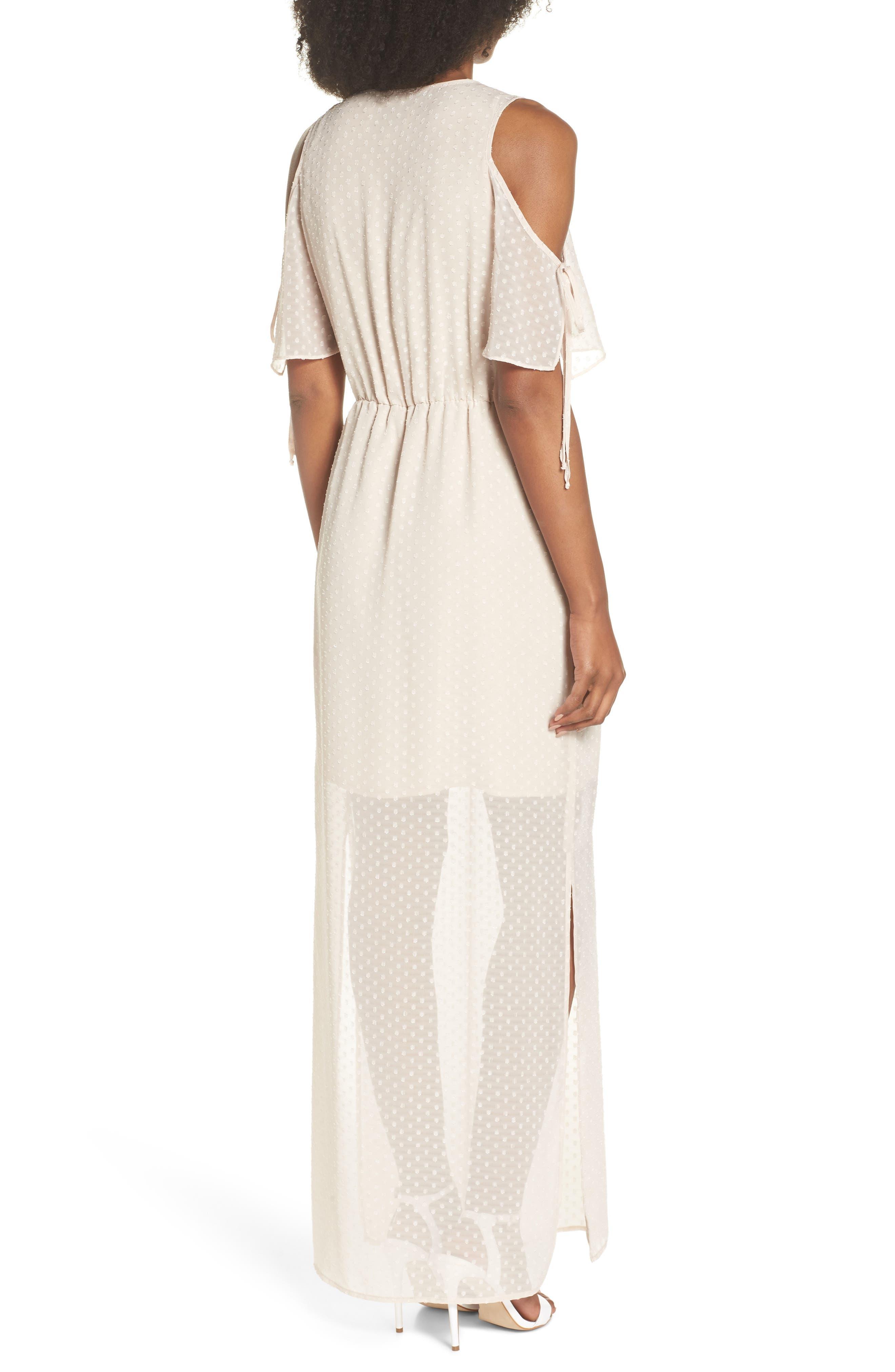 Tie Sleeve Cold Shoulder Maxi Dress,                             Alternate thumbnail 2, color,                             901