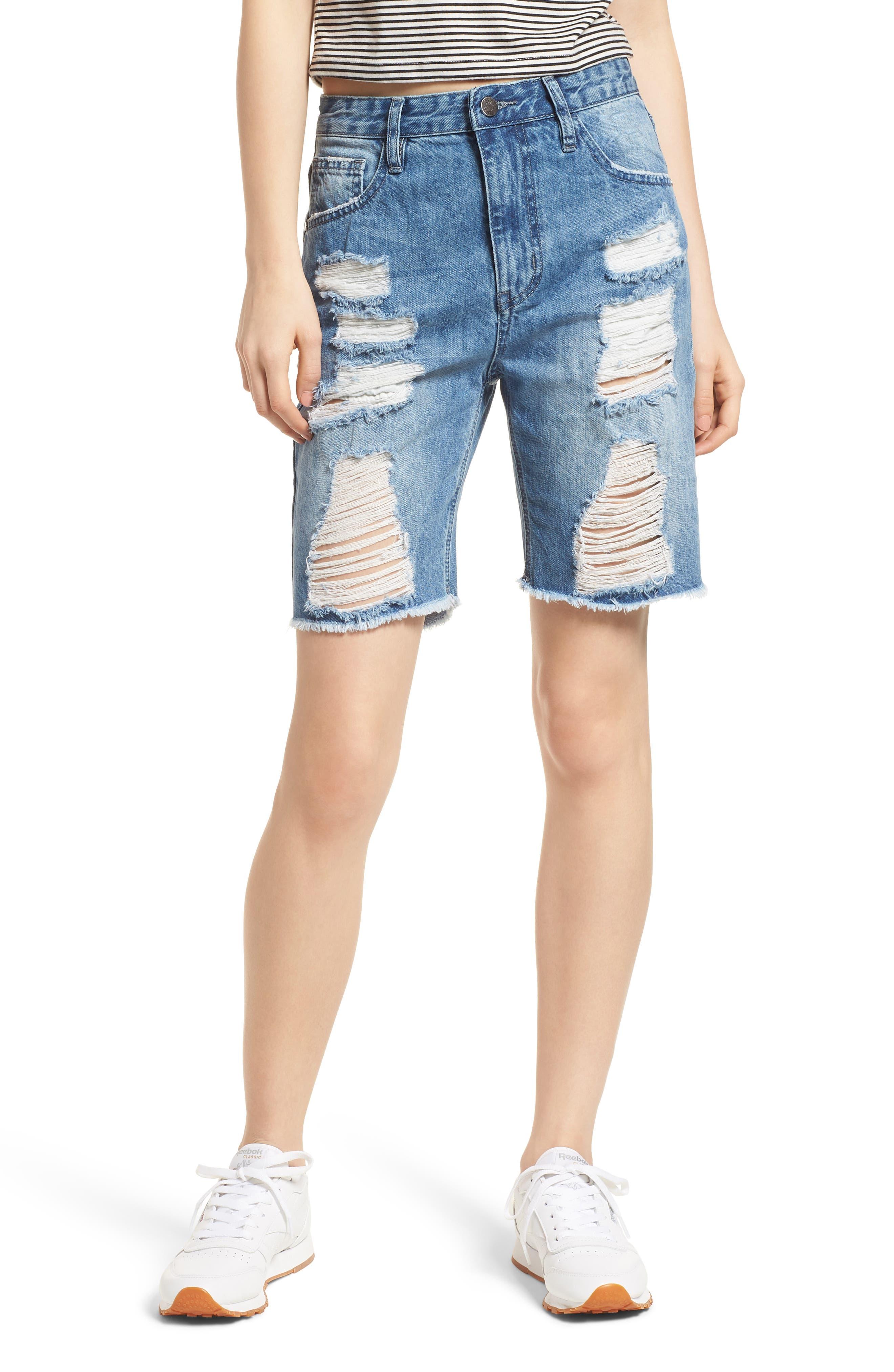 Shredded Denim Bermuda Shorts,                             Main thumbnail 1, color,