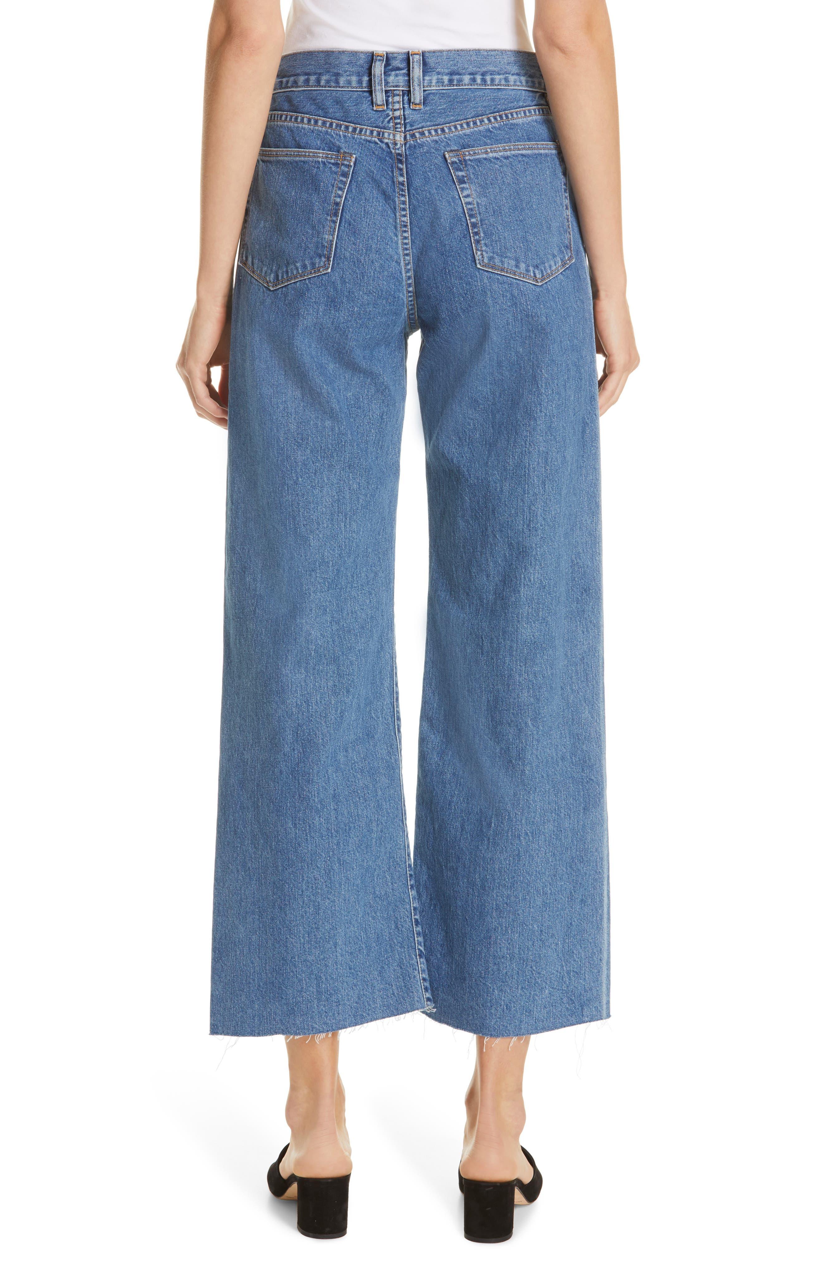 Crop Frayed Wide Leg Jeans,                             Alternate thumbnail 2, color,                             VINTAGE WASH 4