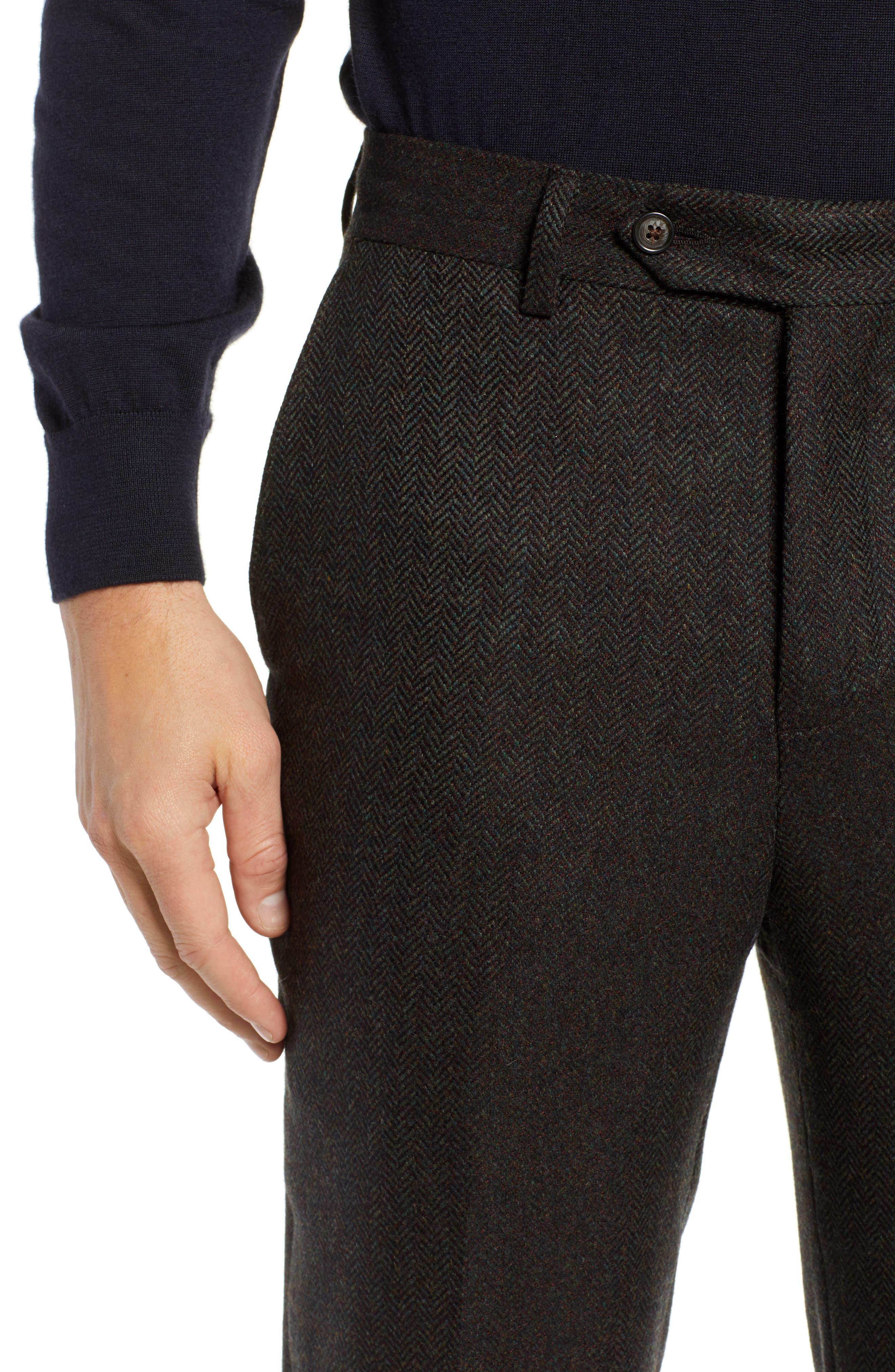Flat Front Herringbone Wool & Cashmere Trousers,                             Alternate thumbnail 4, color,                             DARK OLIVE