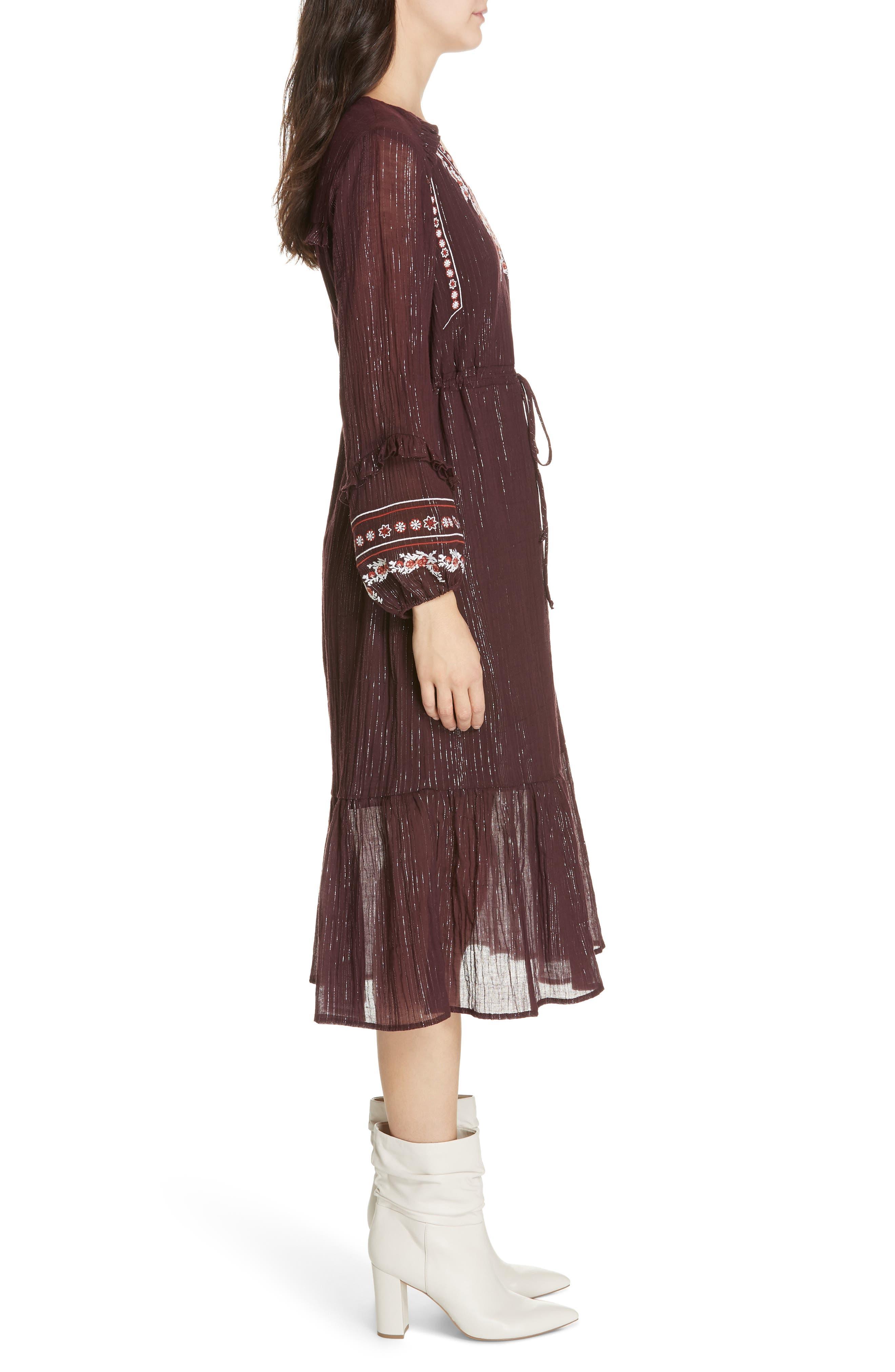 Rashida Embroidered Midi Dress,                             Alternate thumbnail 3, color,                             MULBERRY