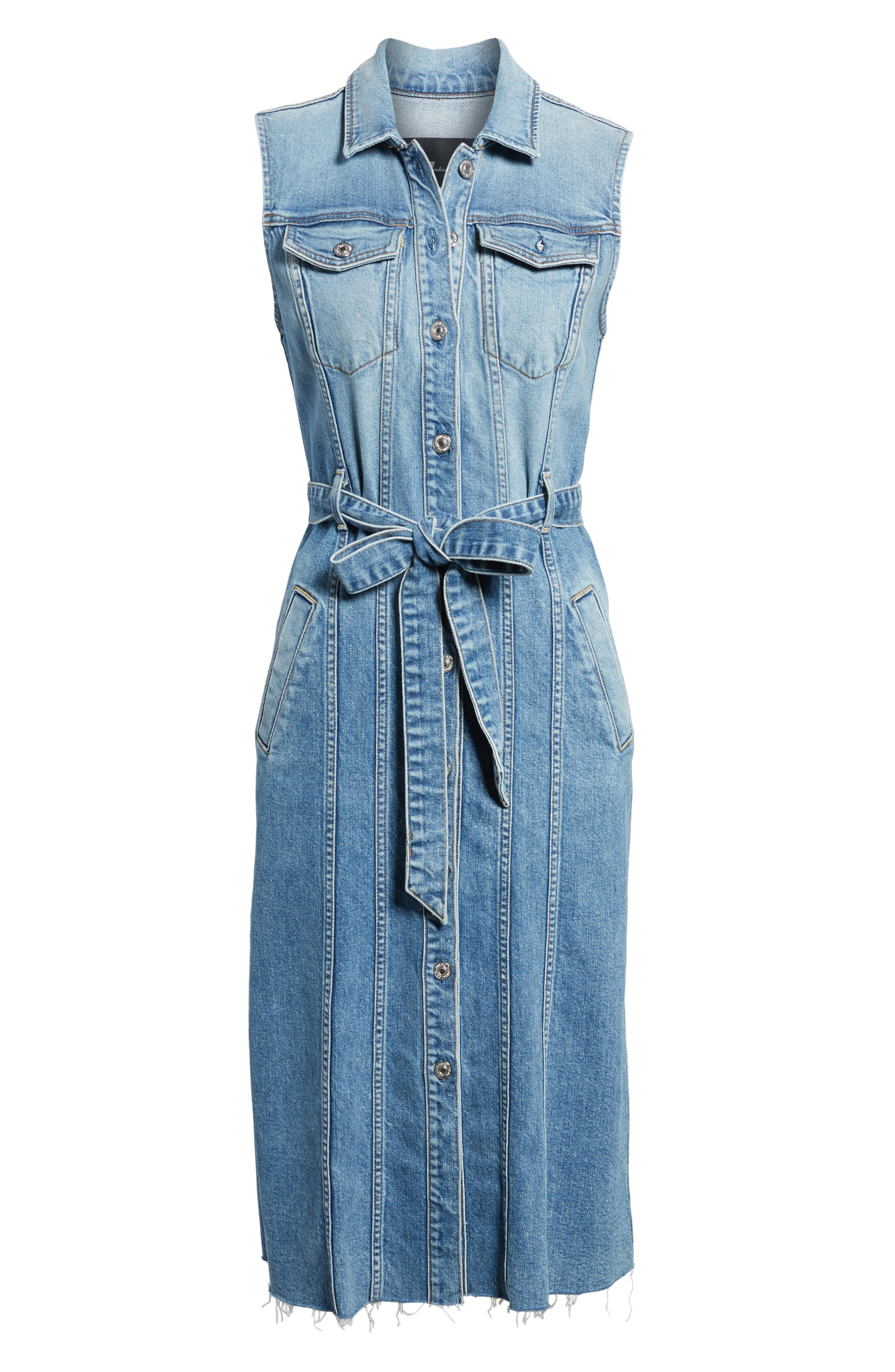 Trucker Denim Midi Dress,                             Alternate thumbnail 6, color,                             401