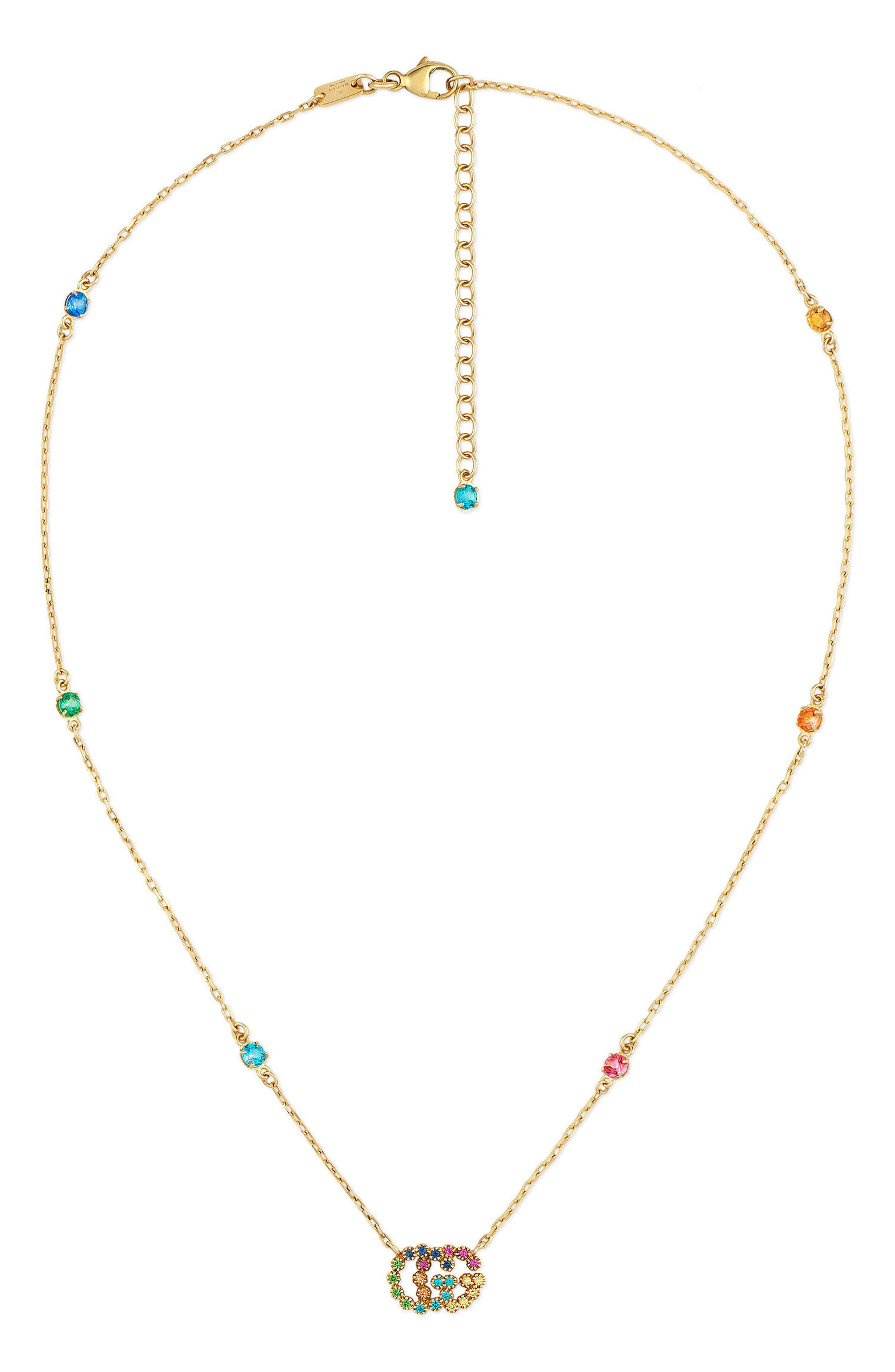 Running G Semiprecius Stone Pendant Necklace,                         Main,                         color, YELLOW GOLD