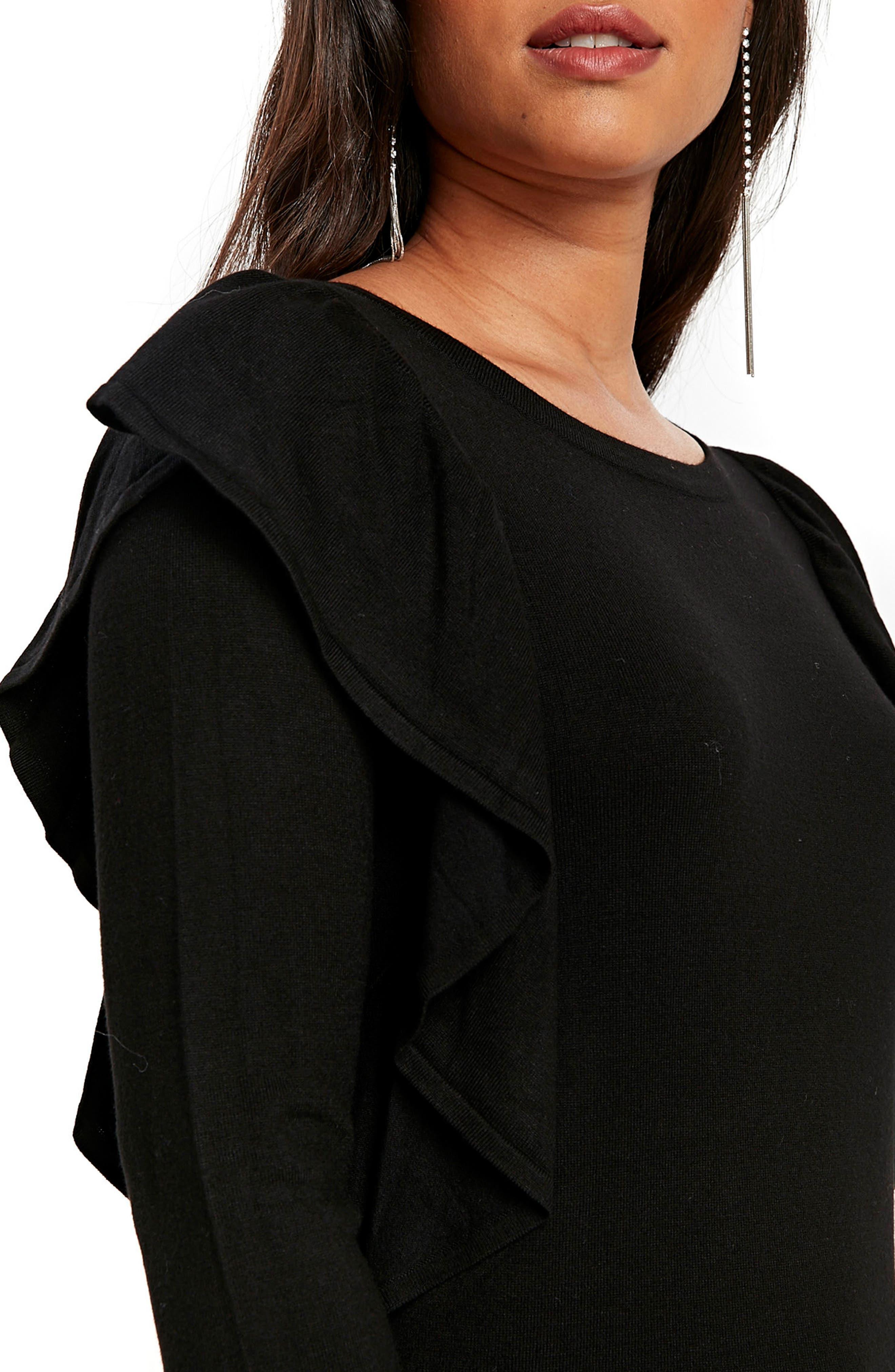 Long Sleeve Ruffle Shoulder Pullover,                             Alternate thumbnail 3, color,                             001