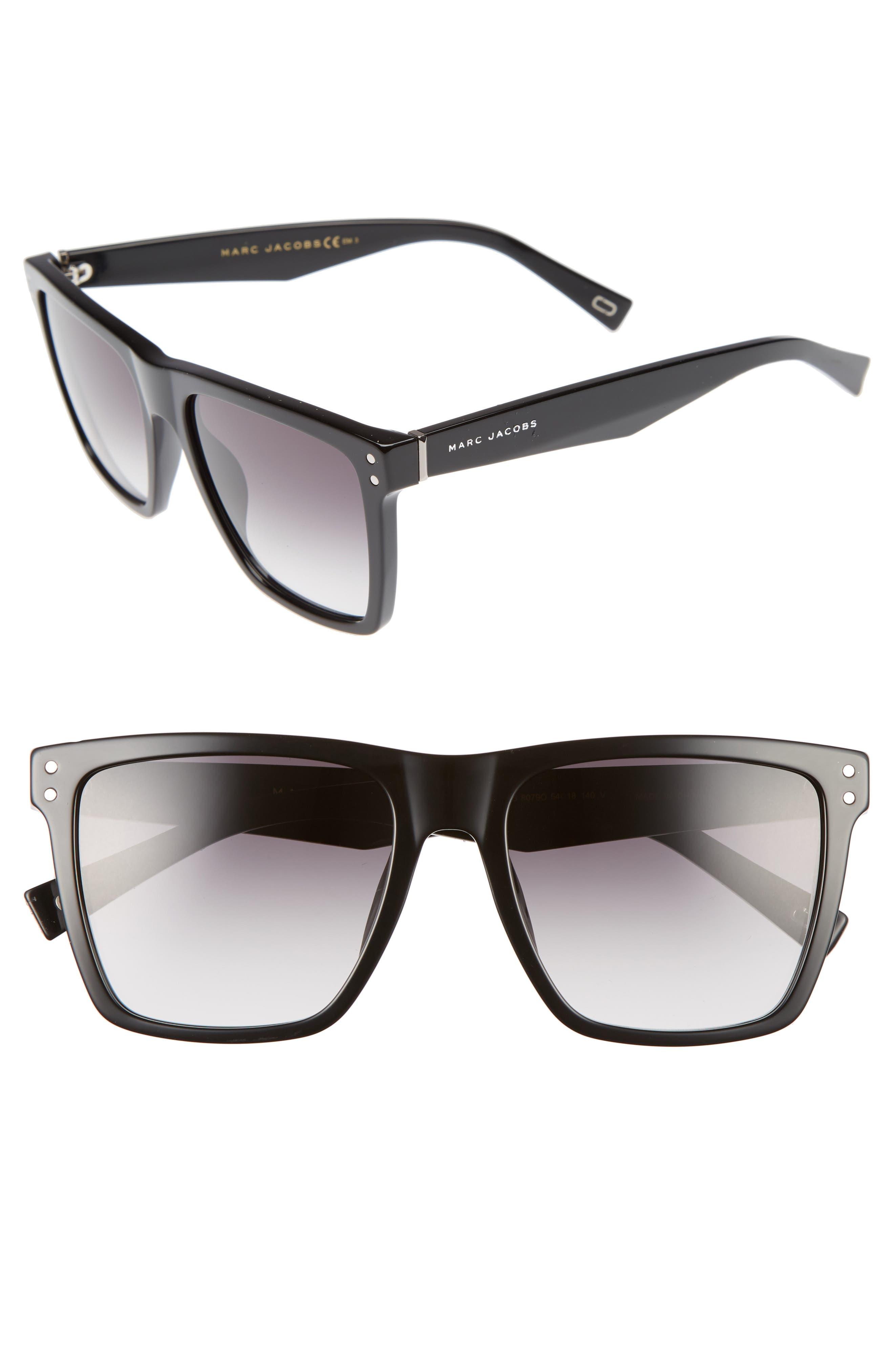 54mm Flat Top Gradient Square Frame Sunglasses,                             Alternate thumbnail 2, color,                             001