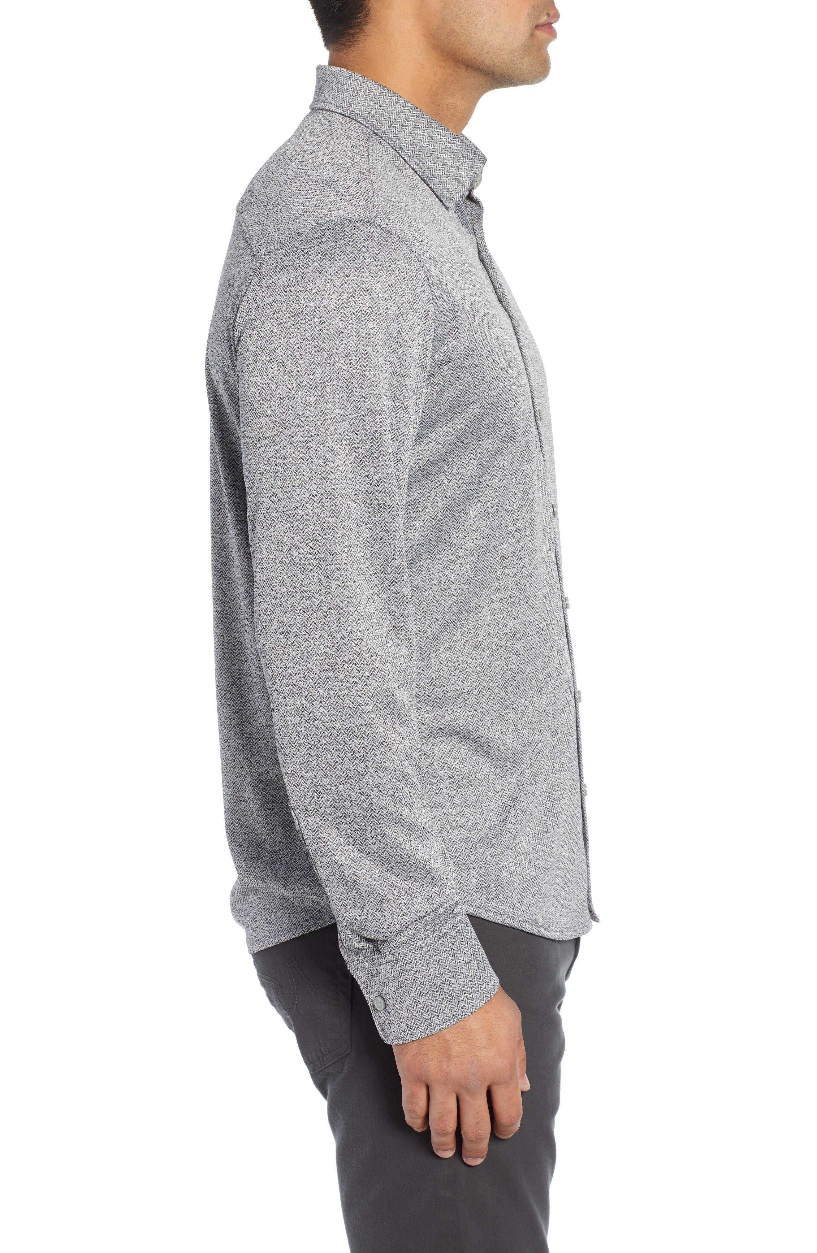 Trim Fit Knit Sport Shirt,                             Alternate thumbnail 4, color,                             BLACK