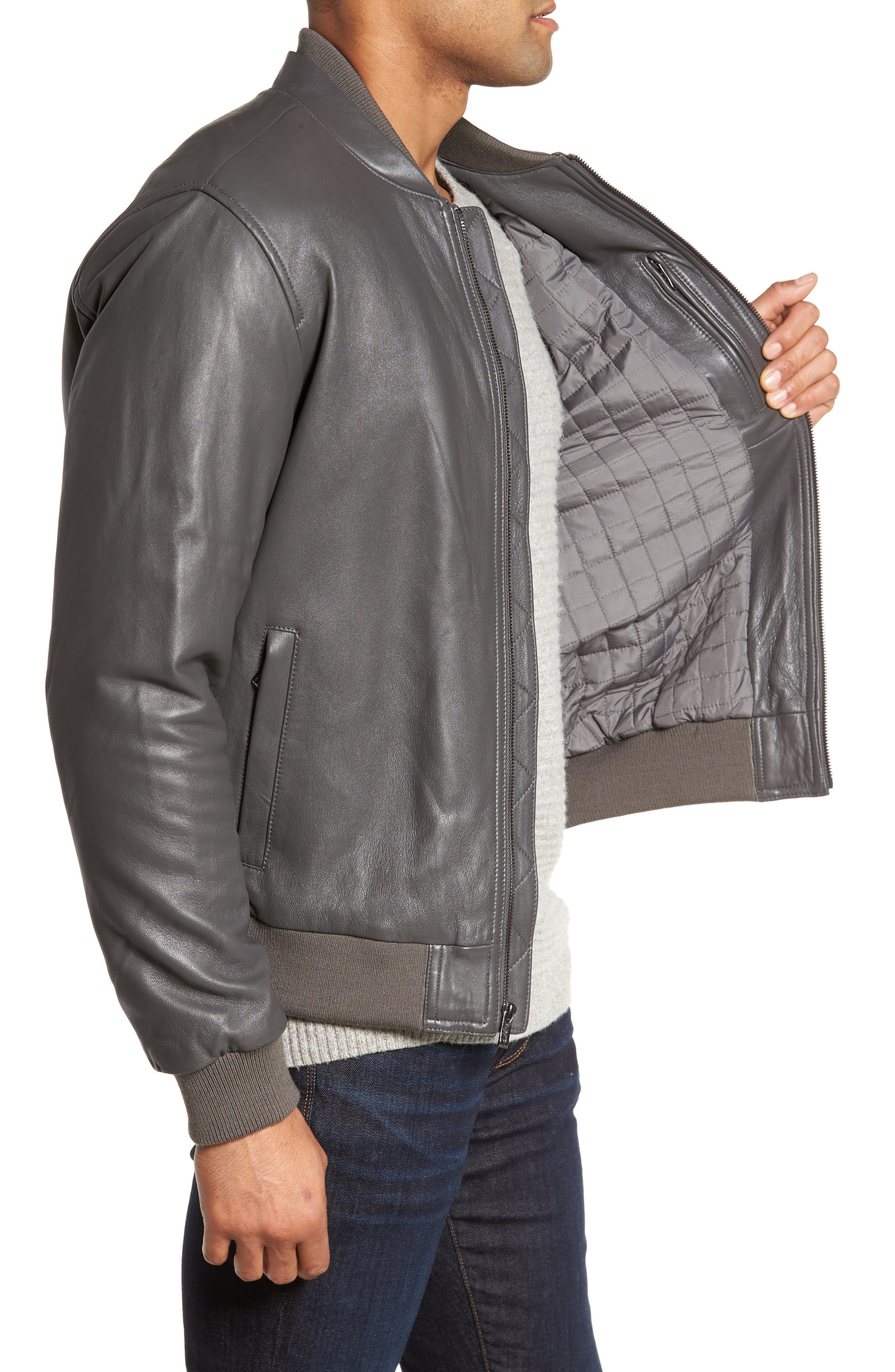 Leather Bomber Jacket,                             Alternate thumbnail 3, color,                             020