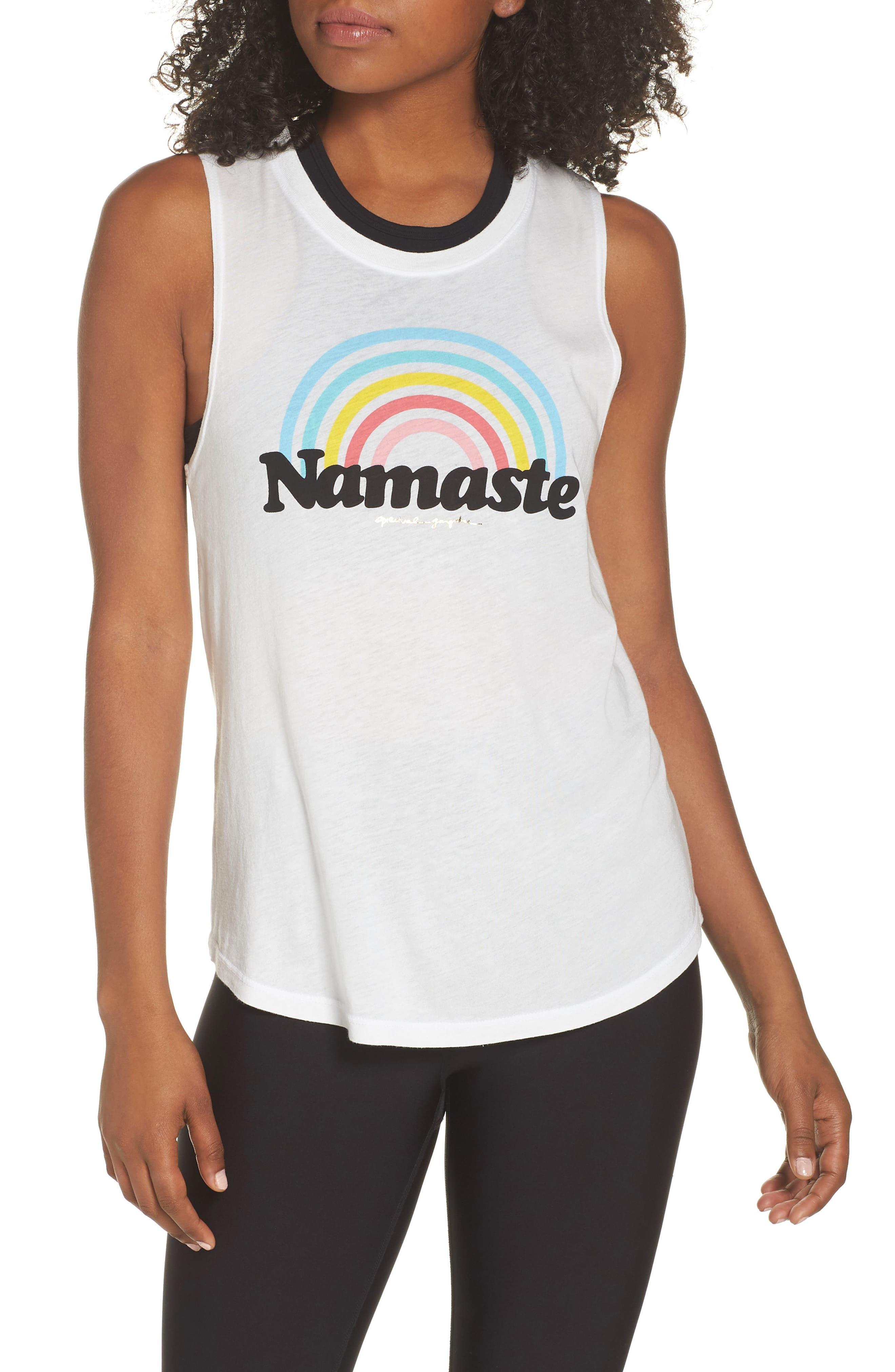 Rainbow Namaste Muscle Tee,                             Main thumbnail 1, color,                             STARDUST