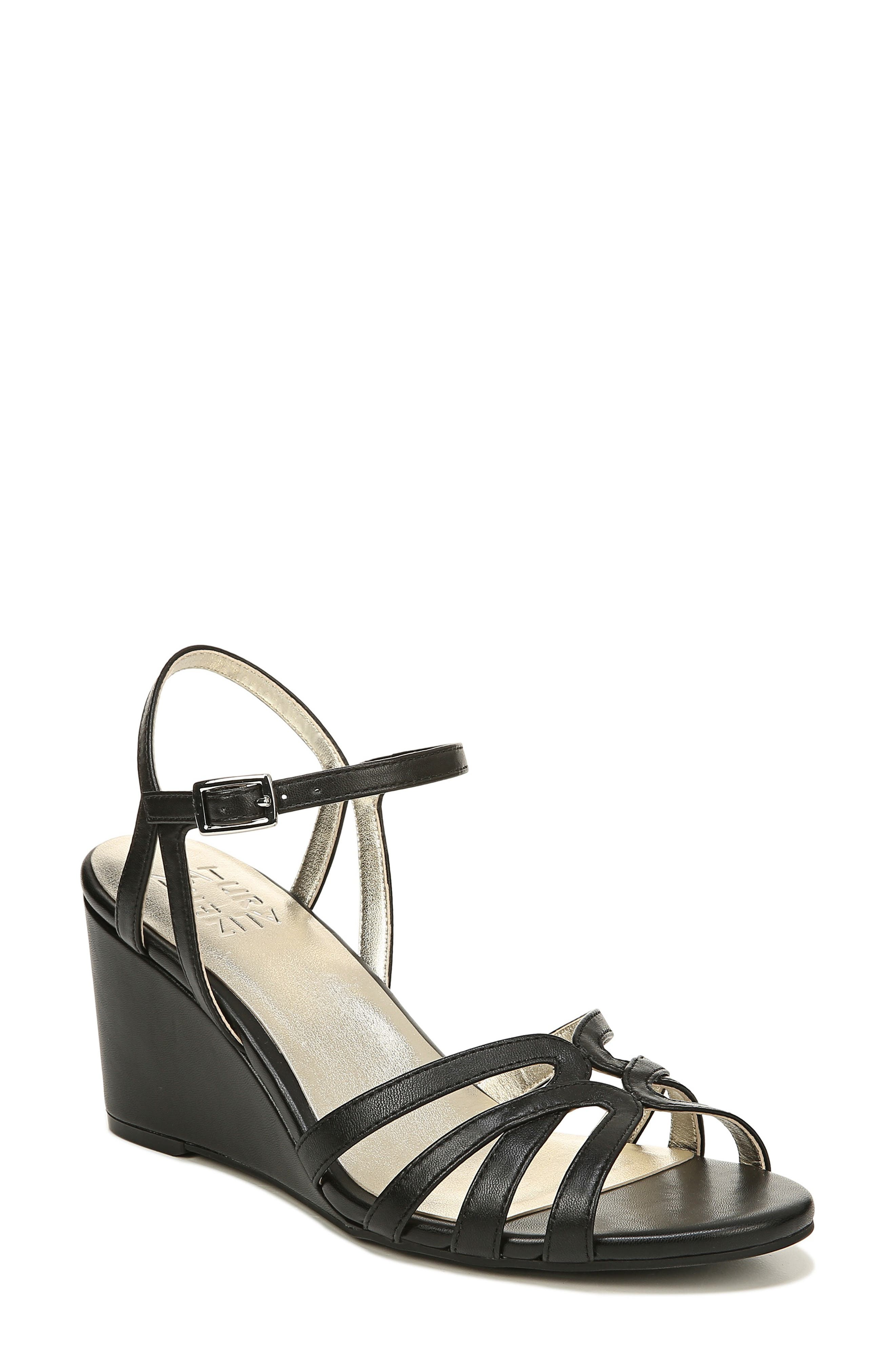 NATURALIZER Gio Wedge Sandal, Main, color, BLACK LEATHER