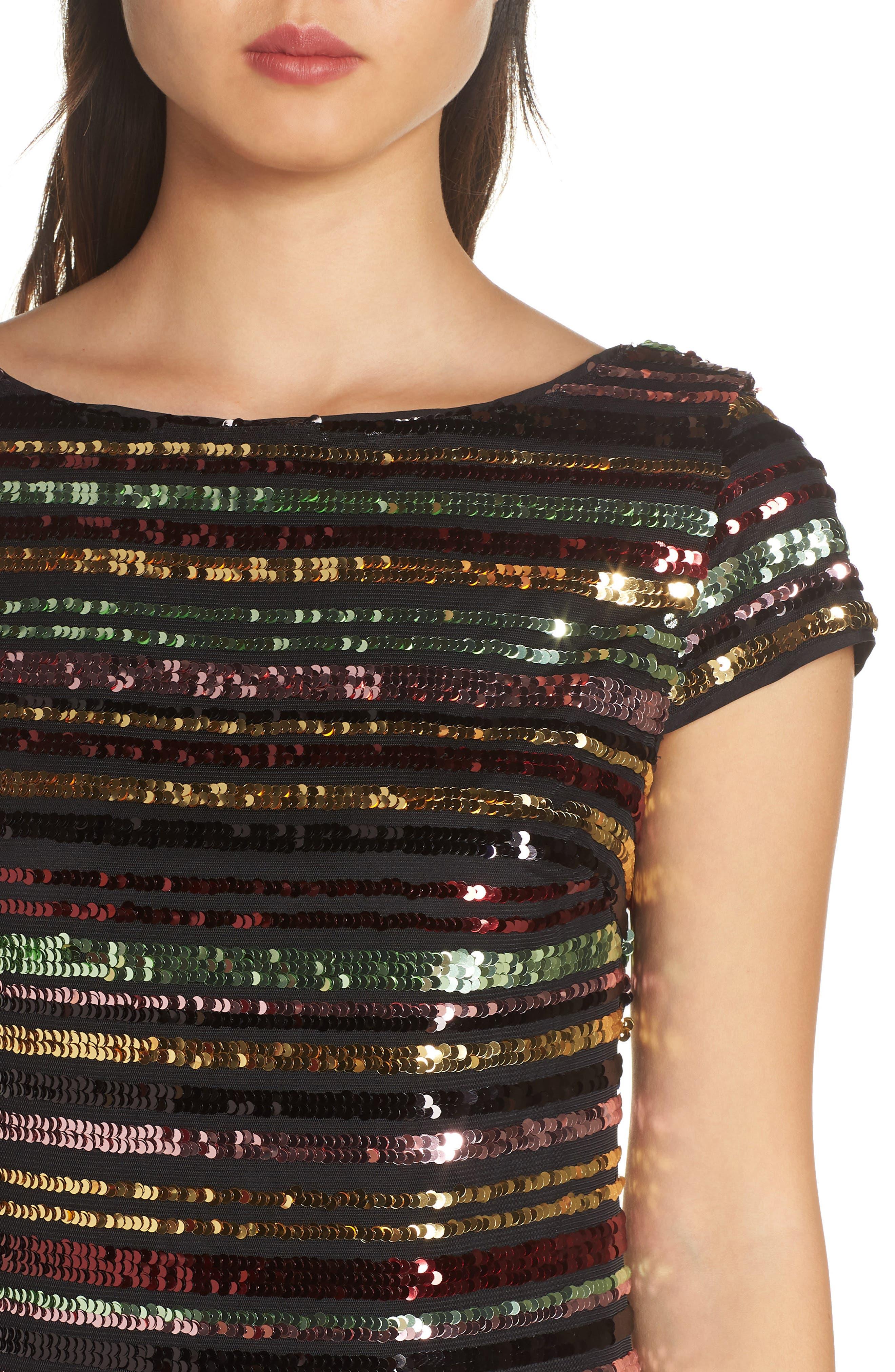 Sequin Stripe Dress,                             Alternate thumbnail 4, color,                             SEQUIN PRINT