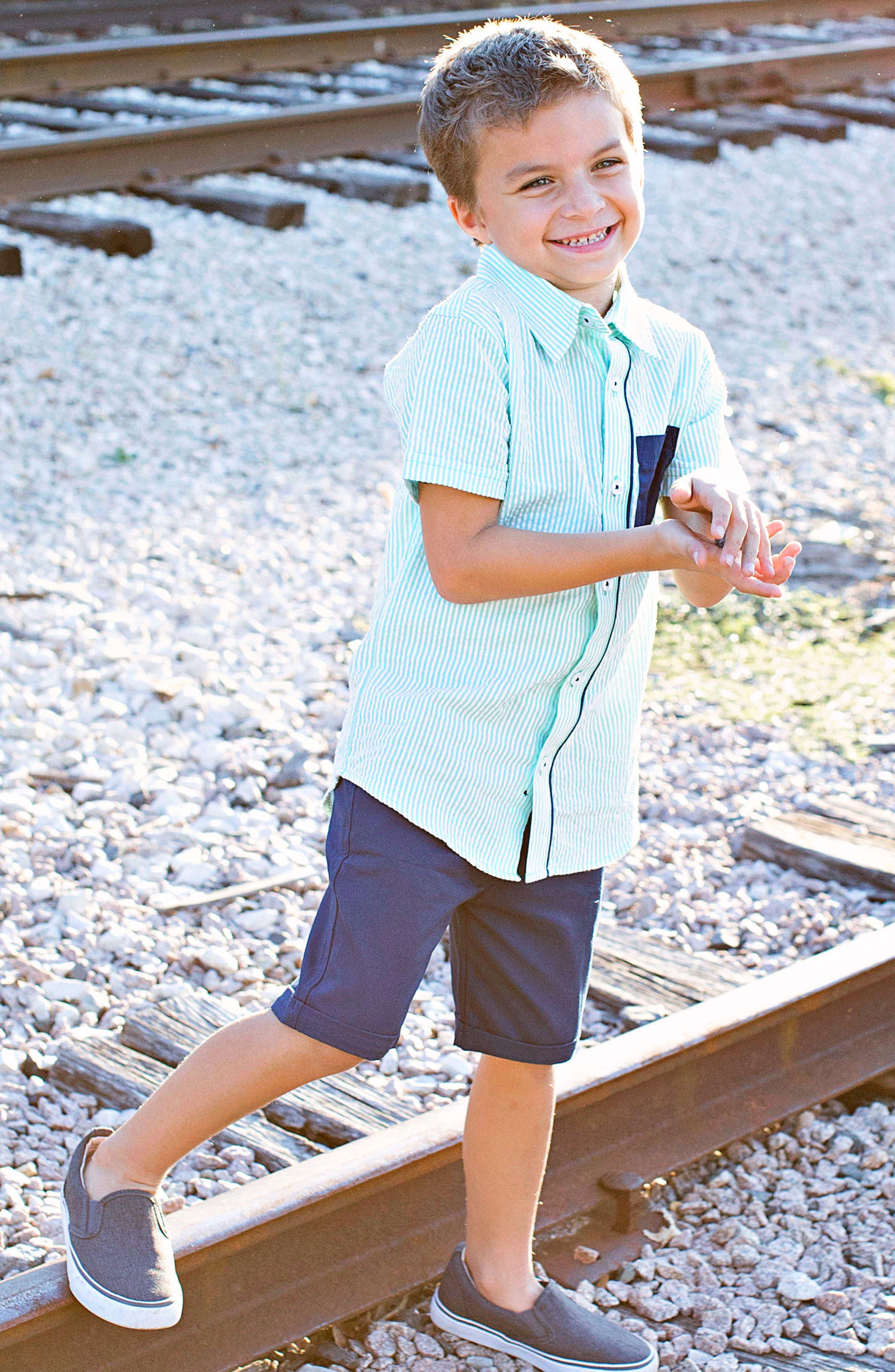 Seersucker Stripe Woven Shirt,                             Alternate thumbnail 3, color,                             300