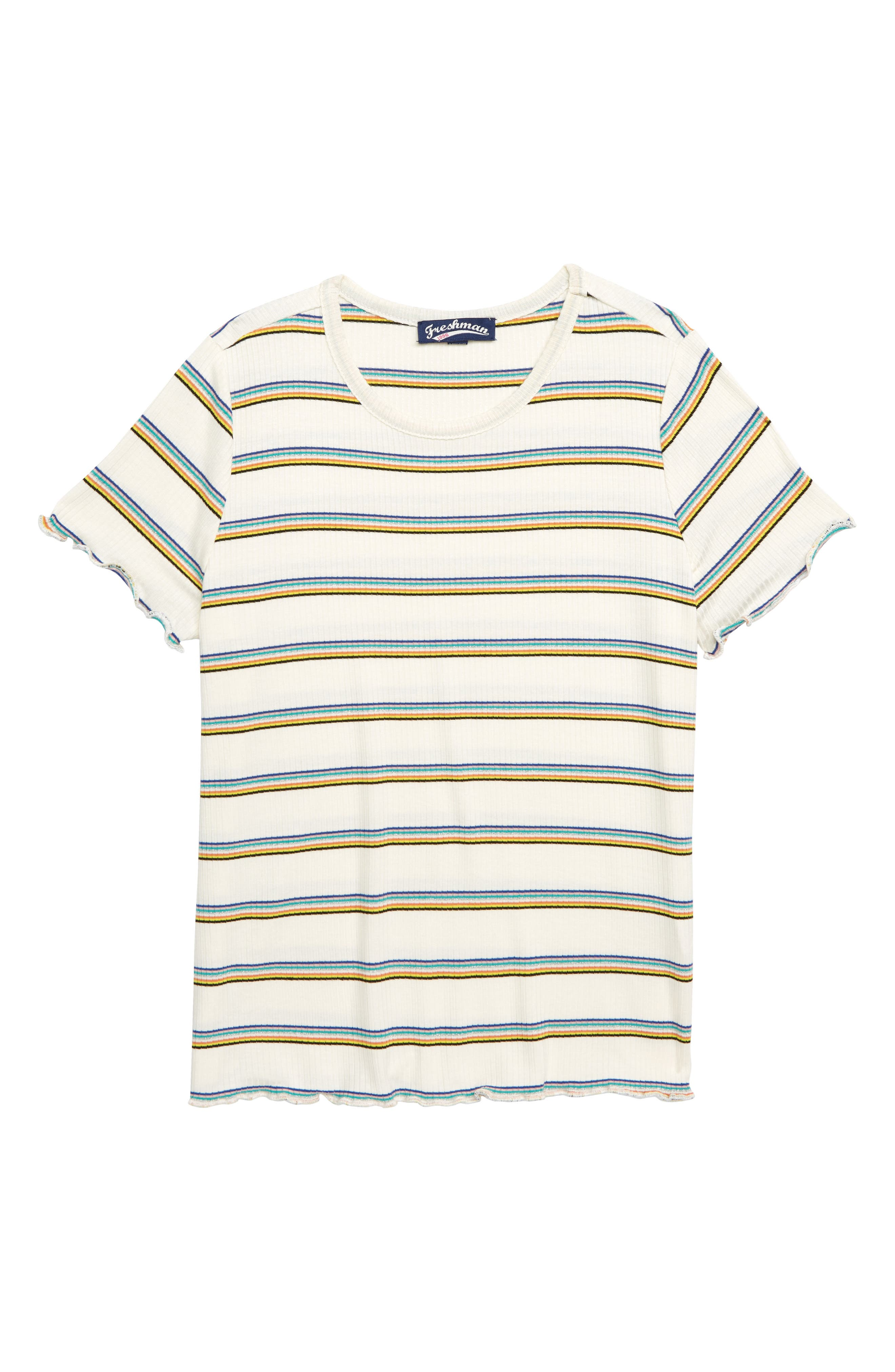 Metallic Rainbow Stripe Ribbed Tee,                             Main thumbnail 1, color,                             FRUITY RAINBOW