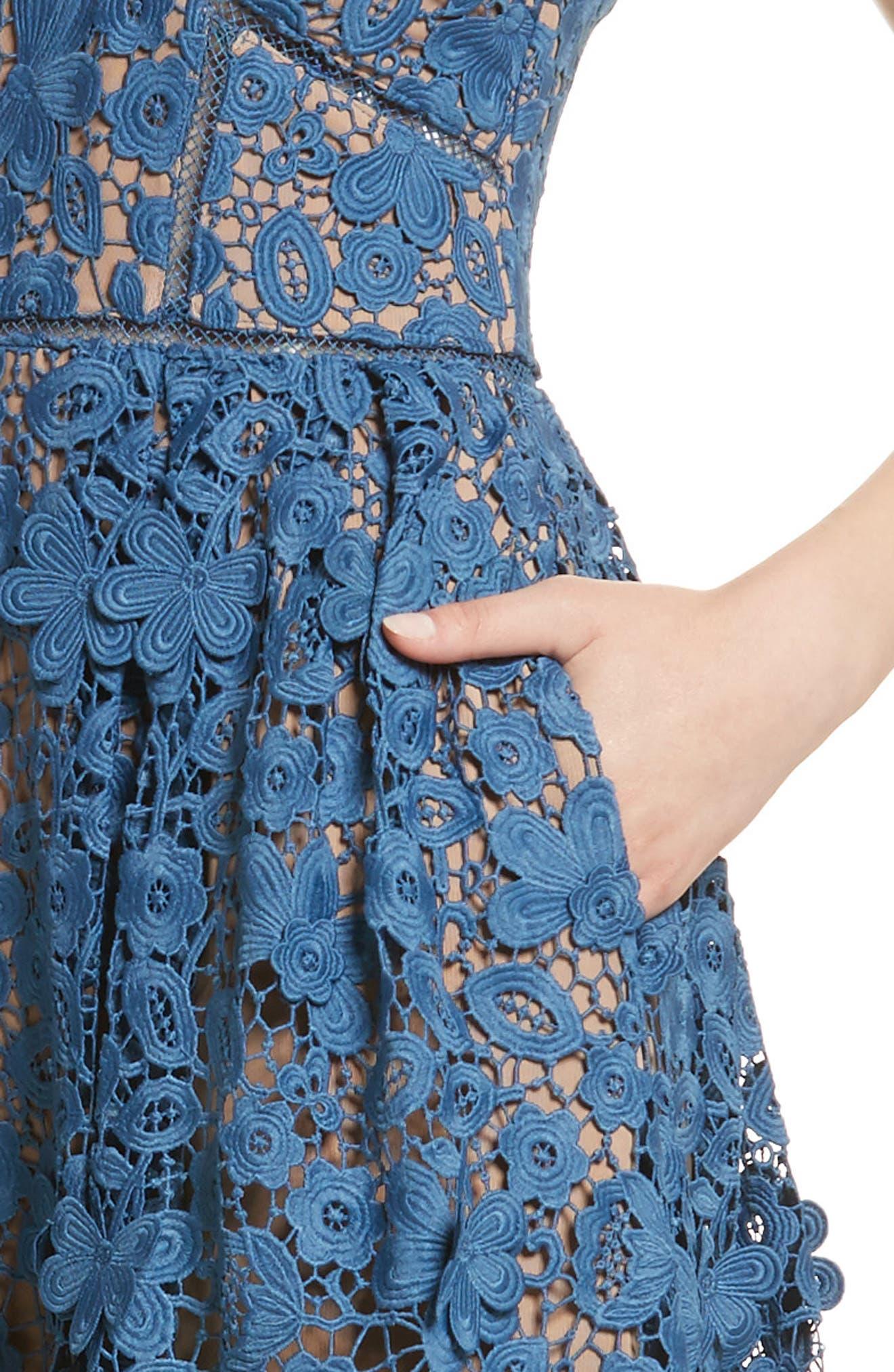 Azaelea 3D Lace Fit & Flare Dress,                             Alternate thumbnail 4, color,                             SLATE BLUE