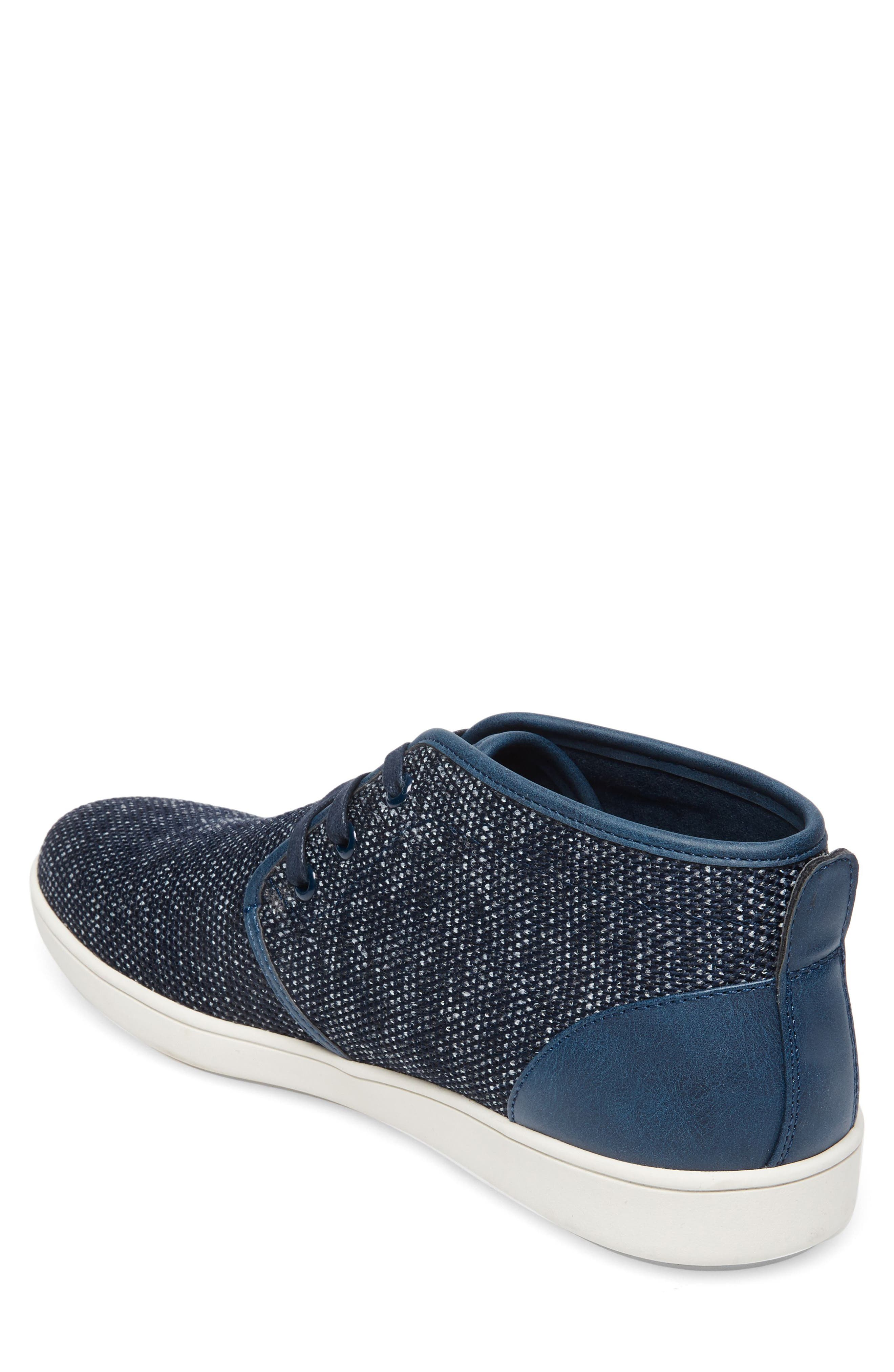 Fowler Knit Mid Top Sneaker,                             Alternate thumbnail 2, color,                             NAVY LEATHER