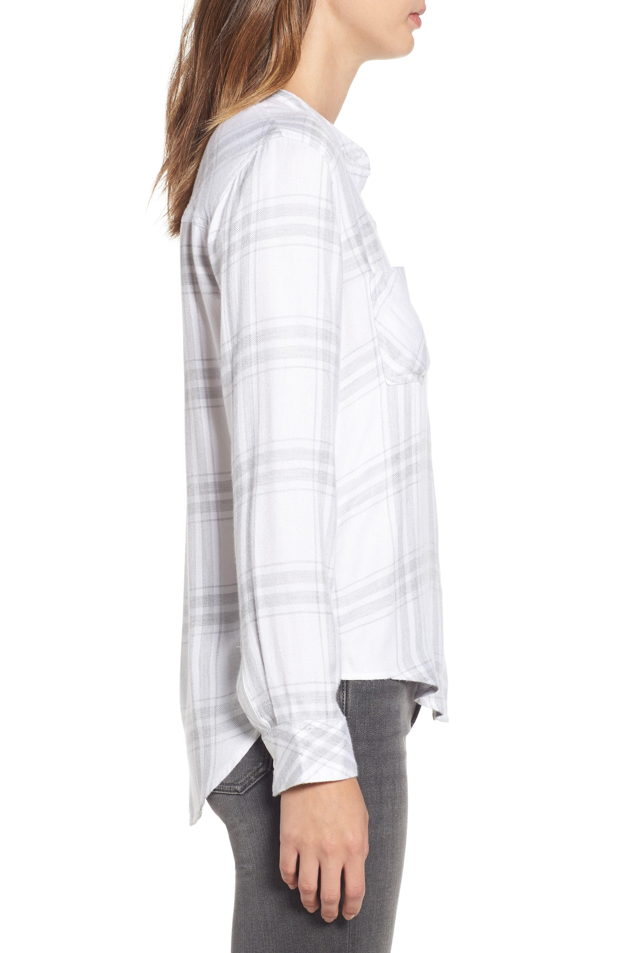 Allison Plaid Shirt,                             Alternate thumbnail 3, color,                             WHITE SILVER