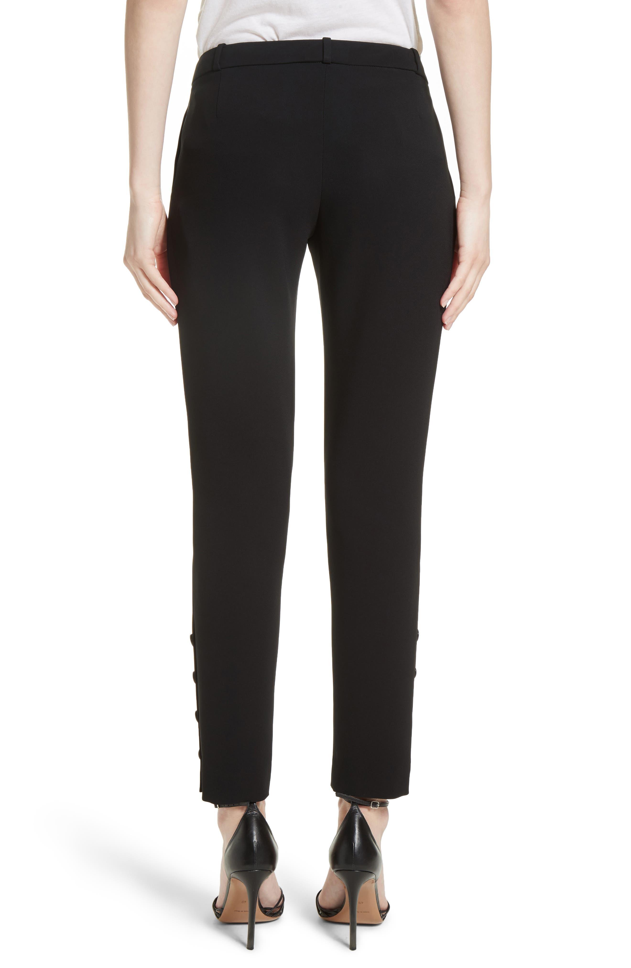 Tristan Button Detail Skinny Pants,                             Alternate thumbnail 2, color,                             BLACK