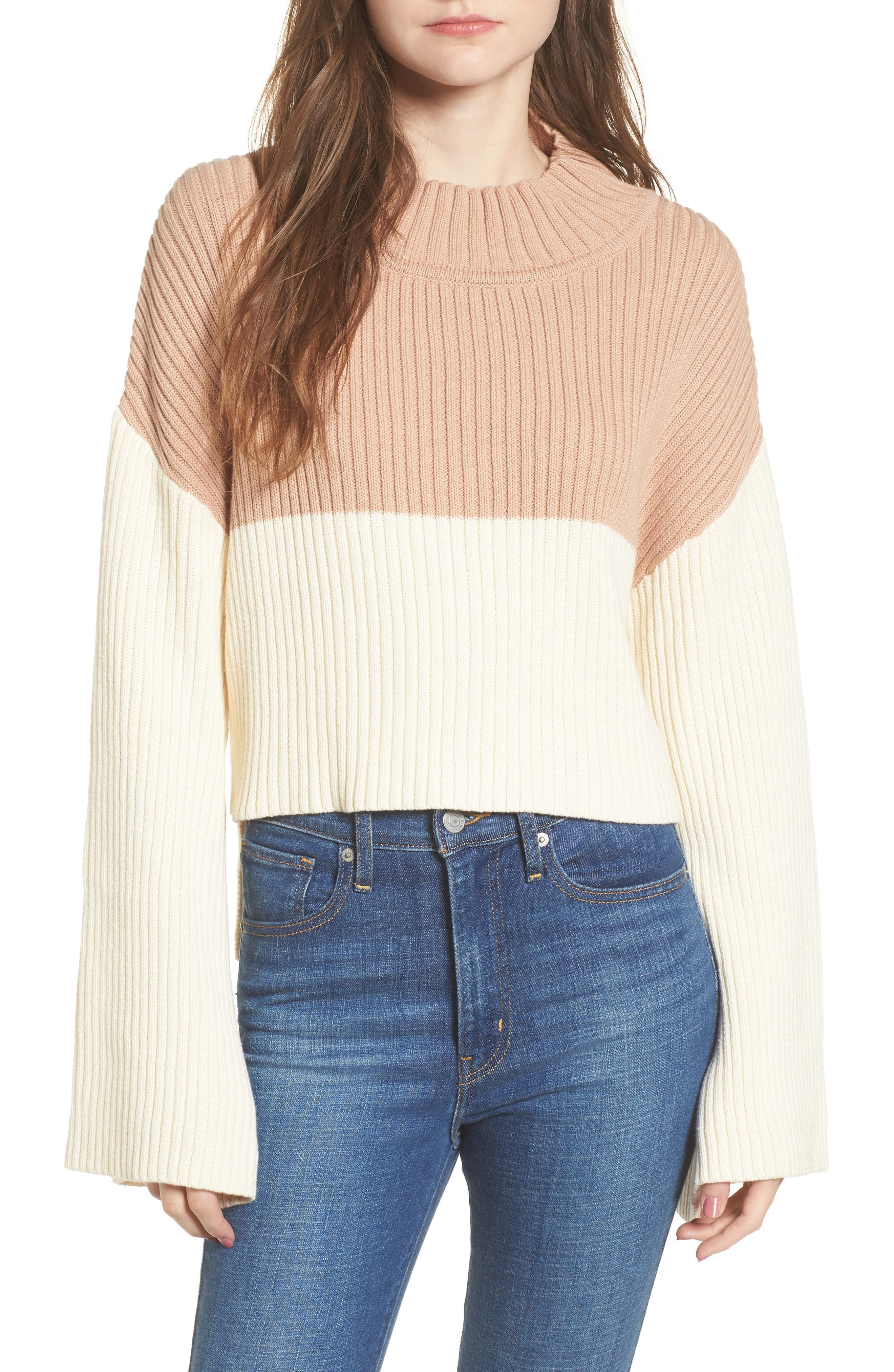 Like a Melody Colorblock Crop Sweater,                             Main thumbnail 1, color,                             900