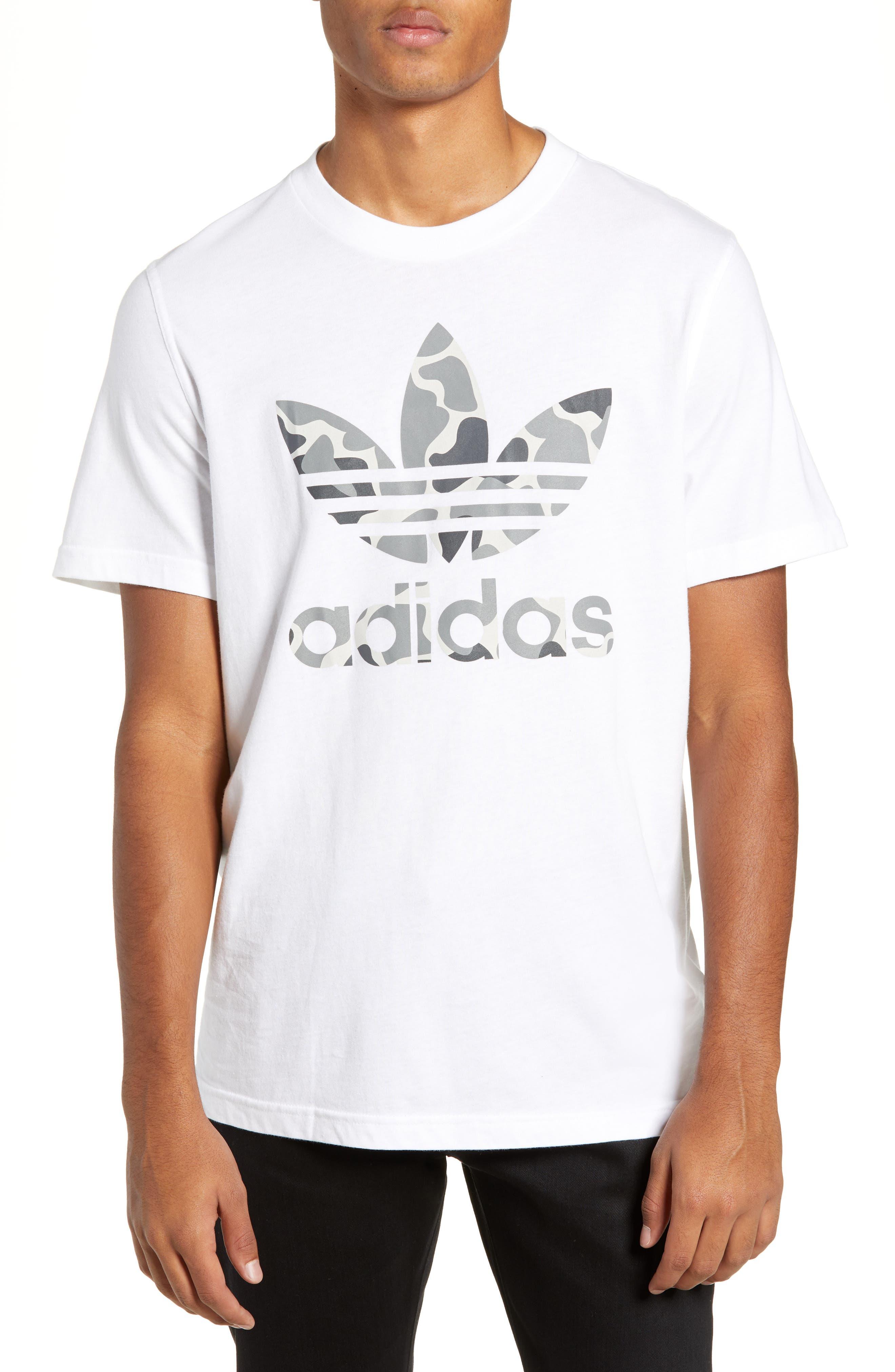 Adidas Originals Camo Trefoil Logo T-Shirt, White