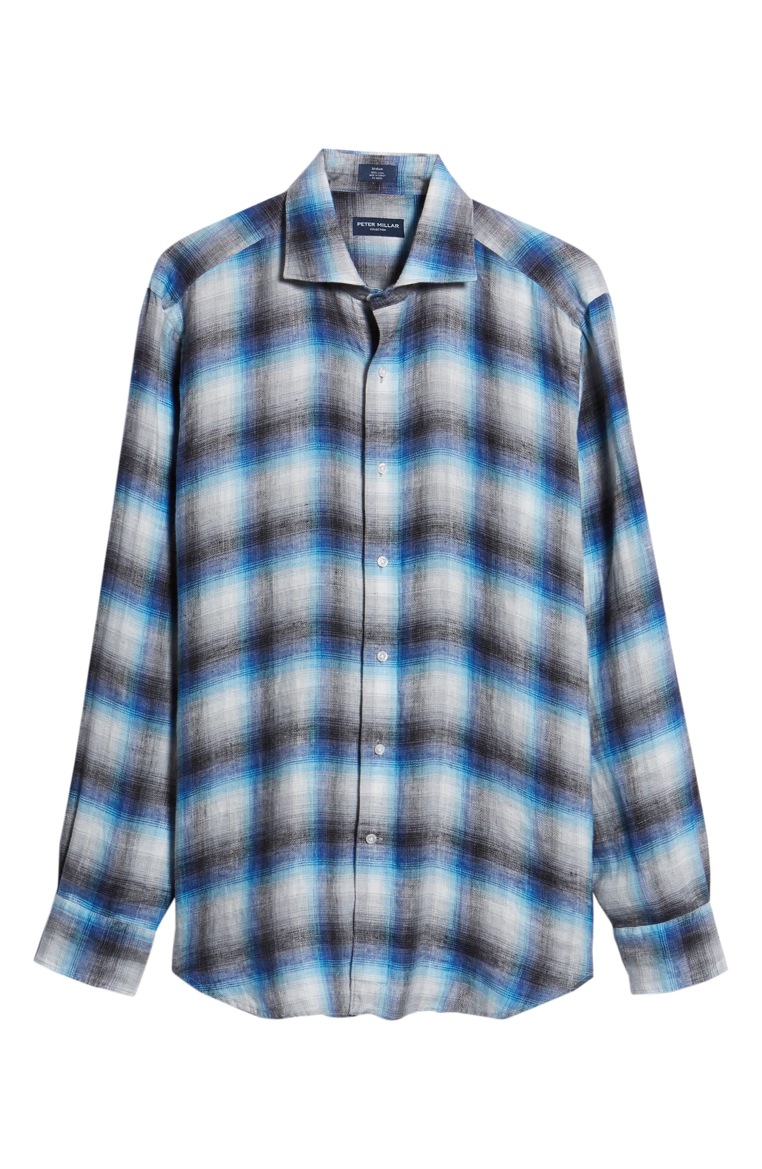 Bisti Regular Fit Plaid Linen Sport Shirt,                             Alternate thumbnail 6, color,                             BARCHETTA