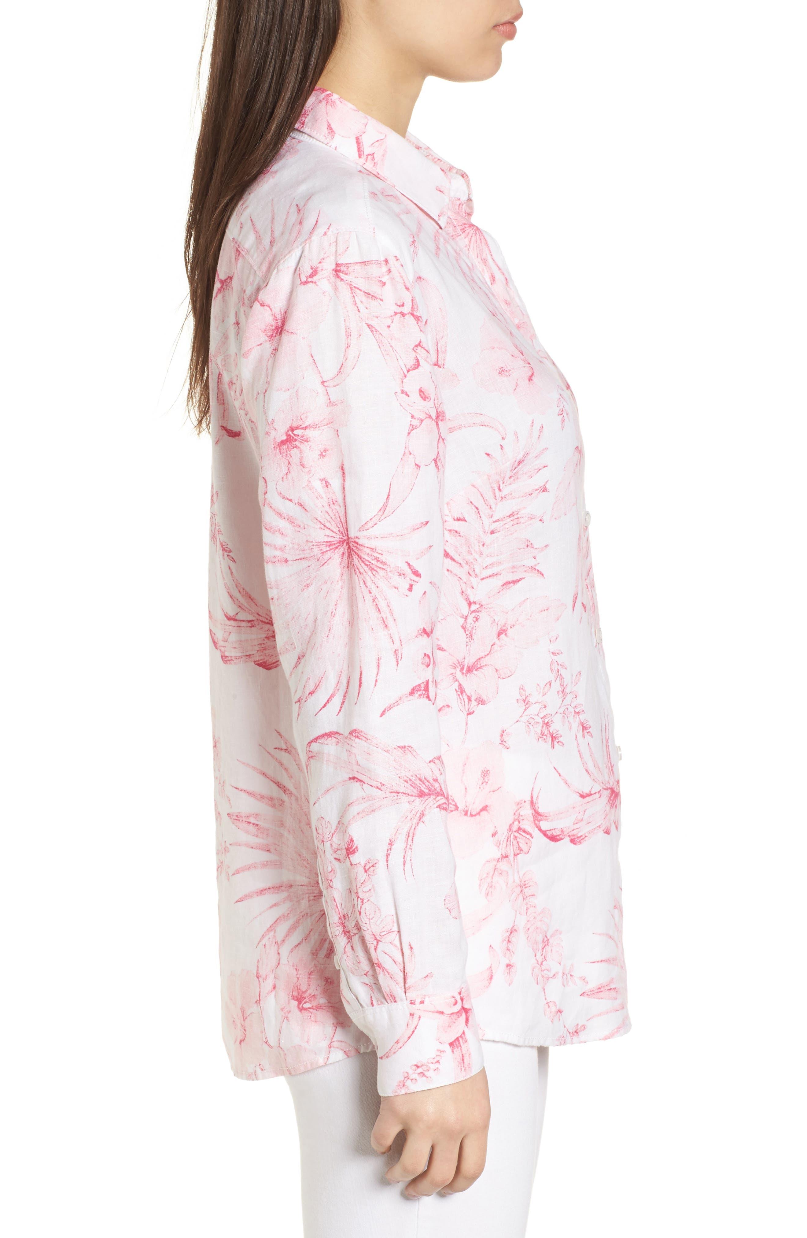 Tulum Tropical Linen Shirt,                             Alternate thumbnail 3, color,                             PINK LACE