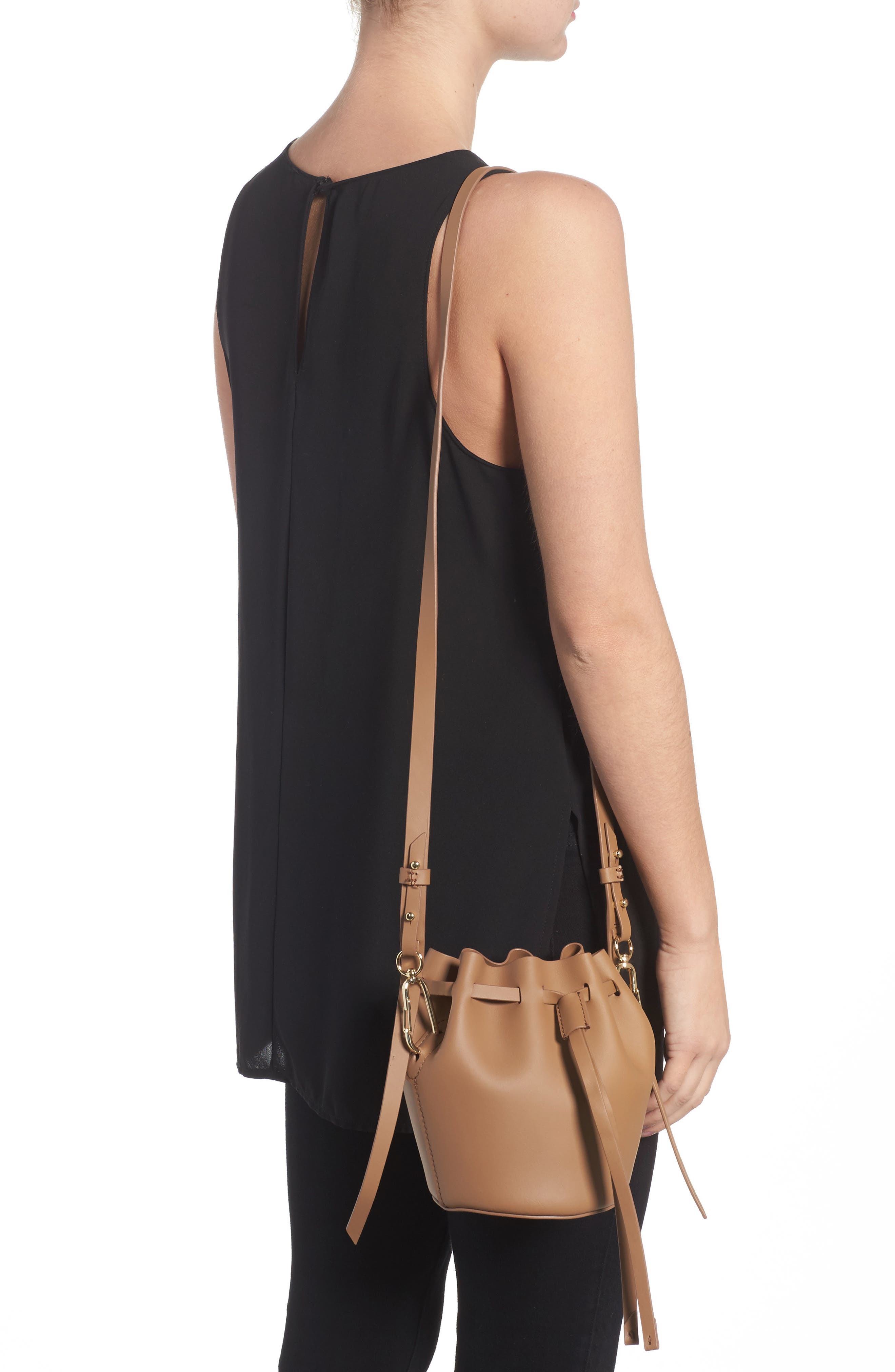 Mini Belay Calfskin Leather Drawstring Bag,                             Alternate thumbnail 4, color,