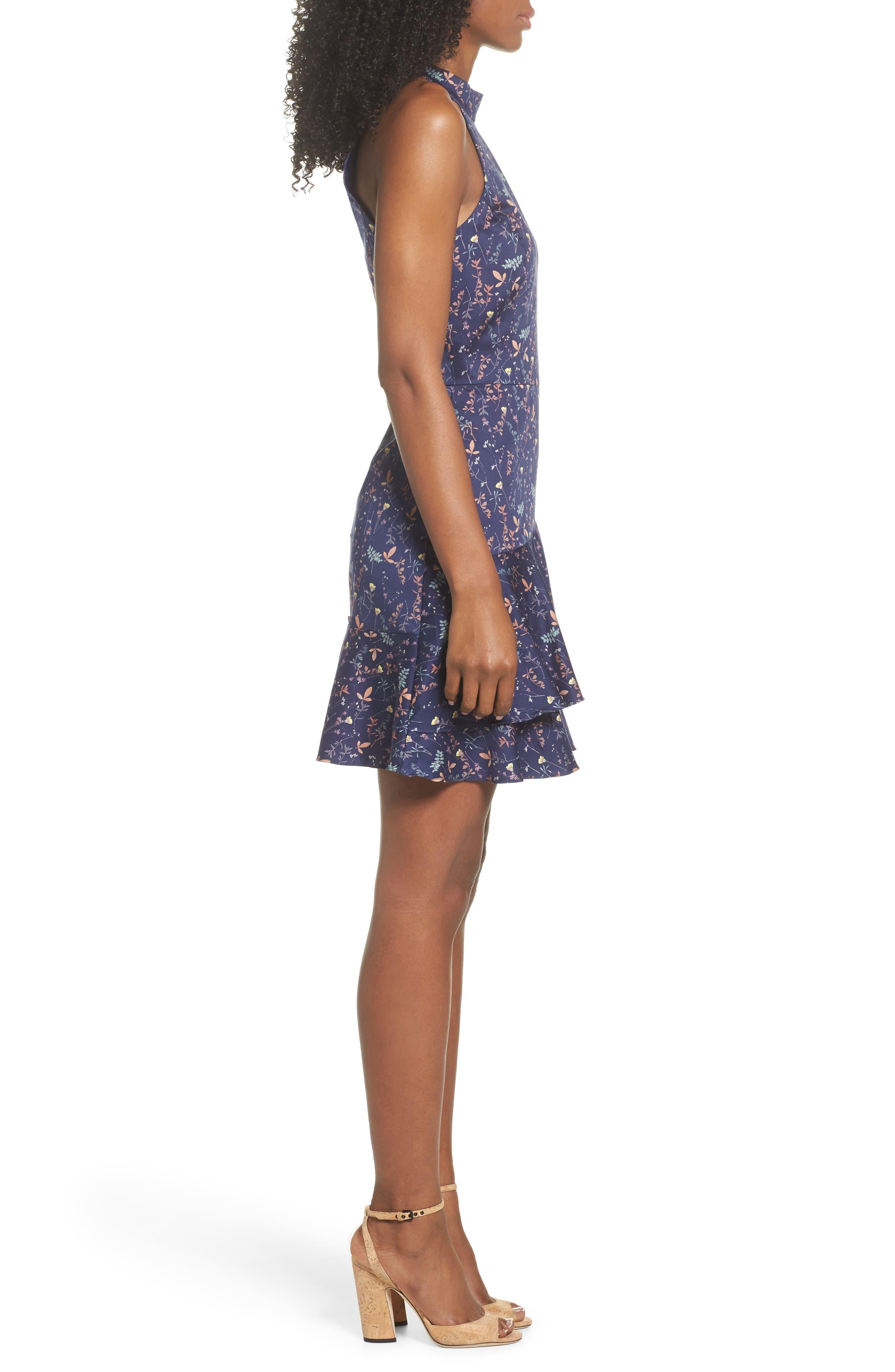Halter Fit & Flare Dress,                             Alternate thumbnail 3, color,                             400