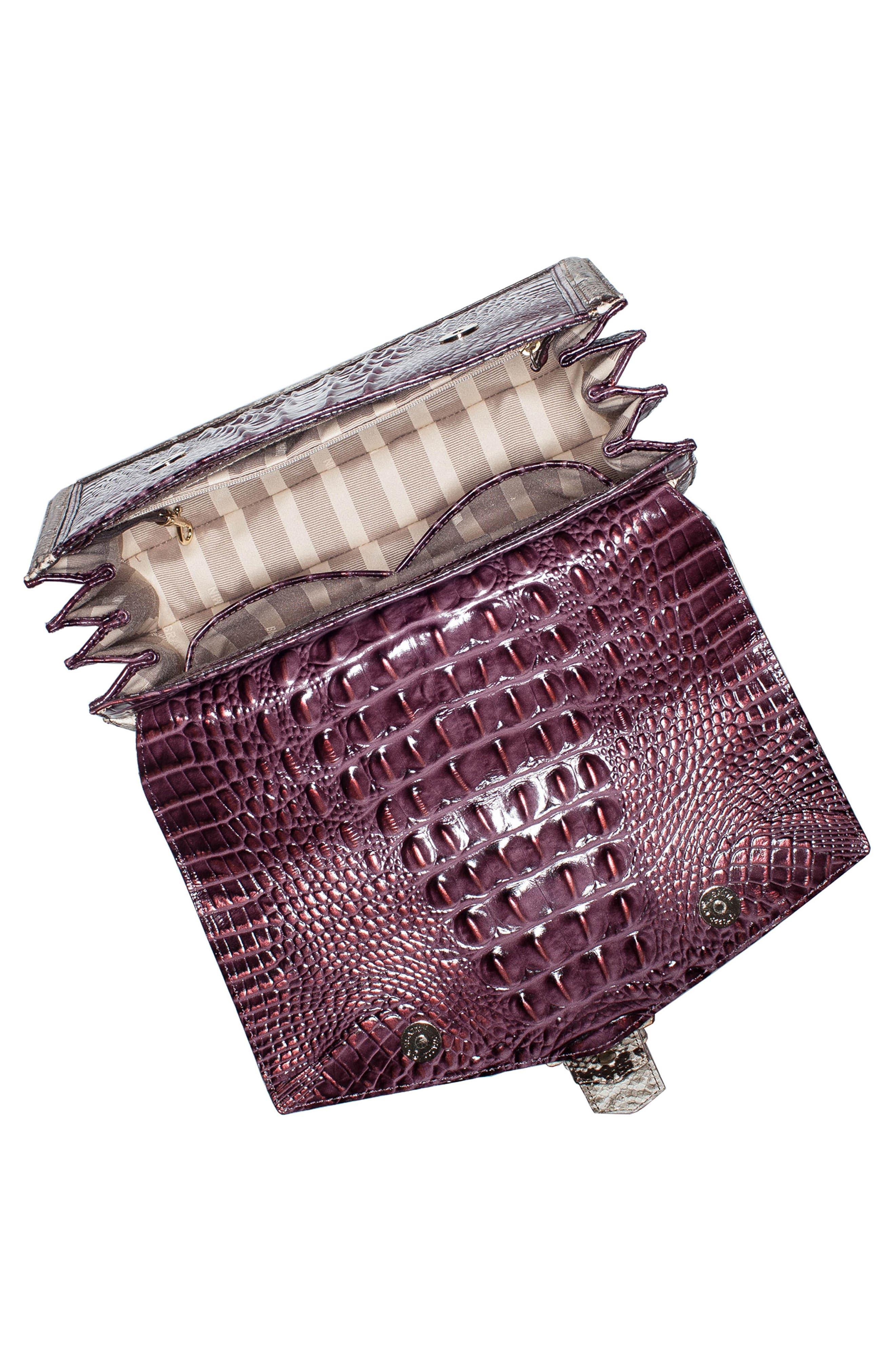 Gabriella Croc-Embossed Leather Satchel,                             Alternate thumbnail 3, color,                             504