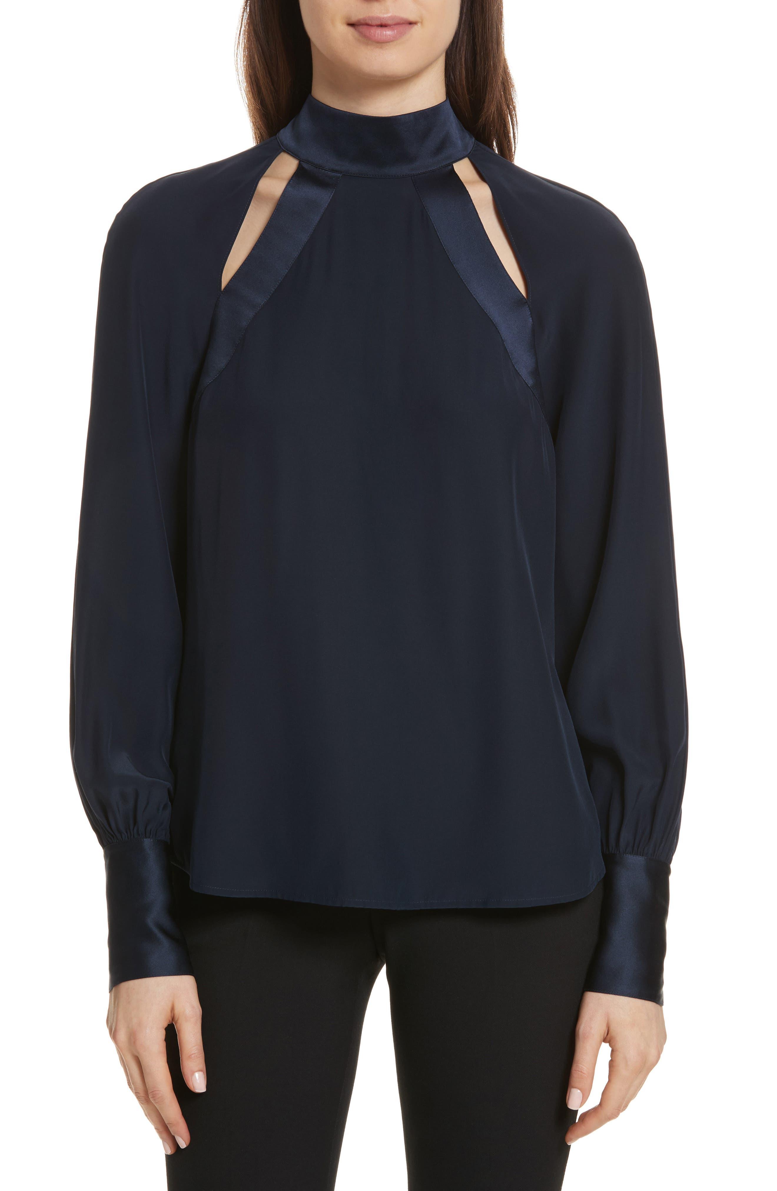 Harper Cutout Silk Top,                         Main,                         color,