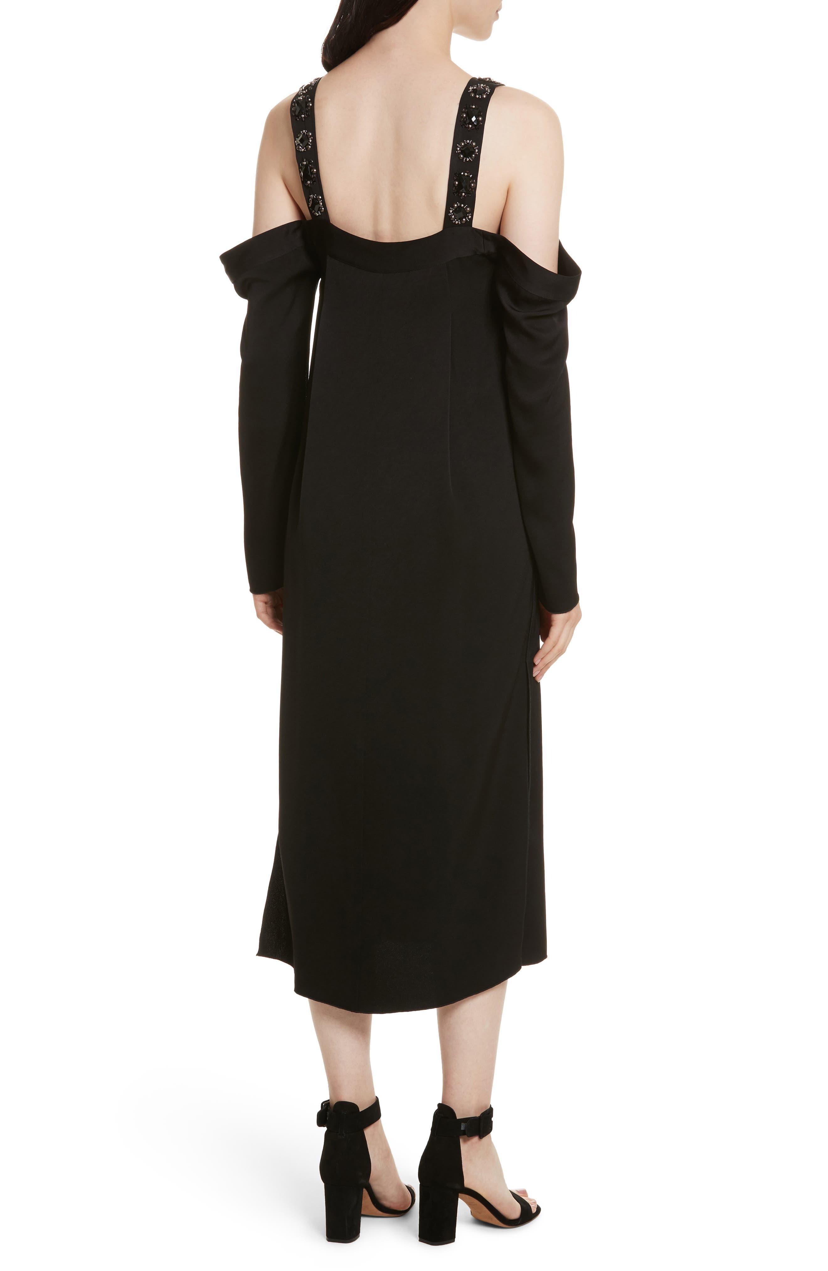 Fynn Embellished Cold Shoulder Midi Dress,                             Alternate thumbnail 2, color,                             001