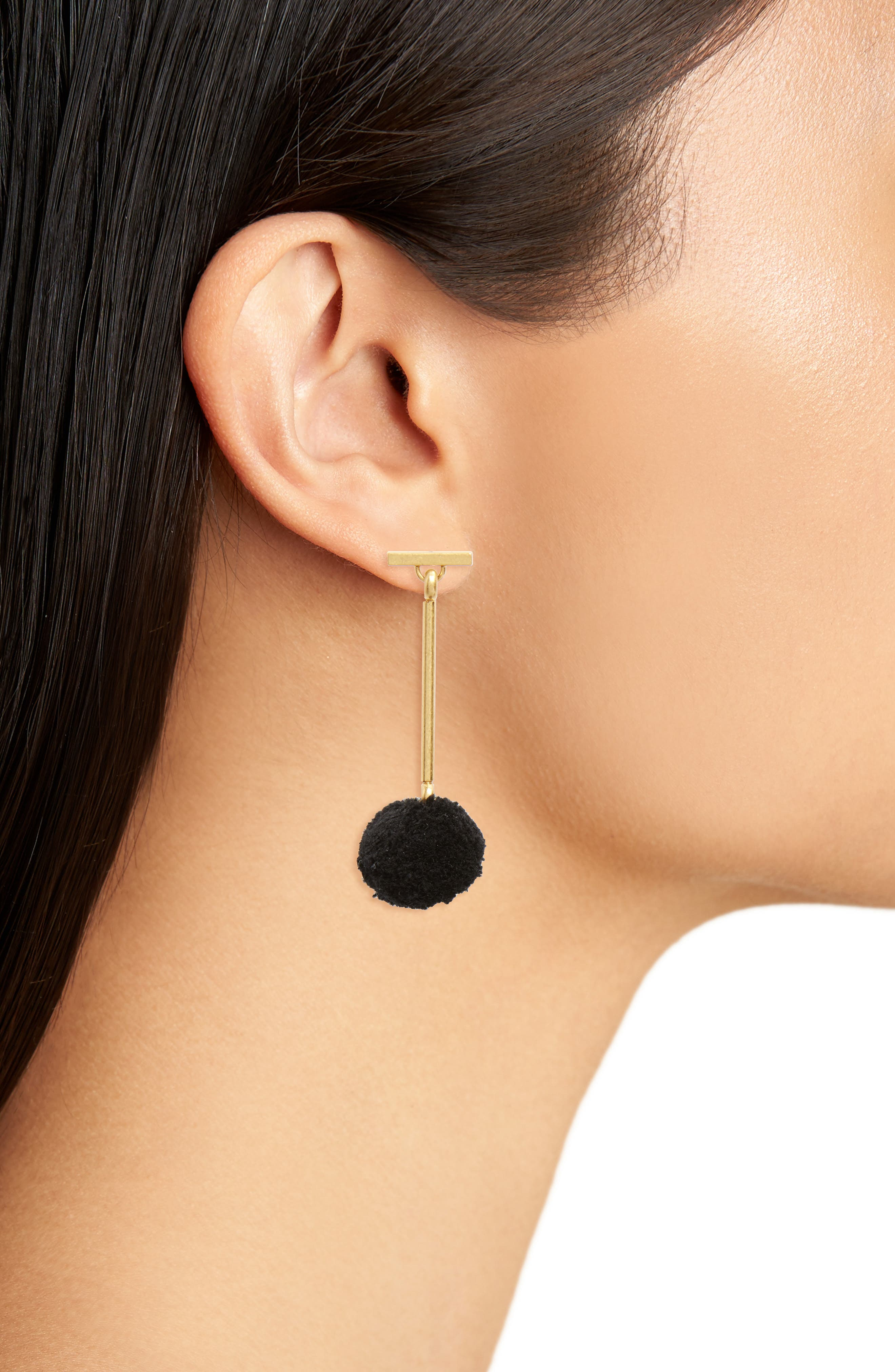 Pompom Drop Earrings,                             Alternate thumbnail 2, color,                             001