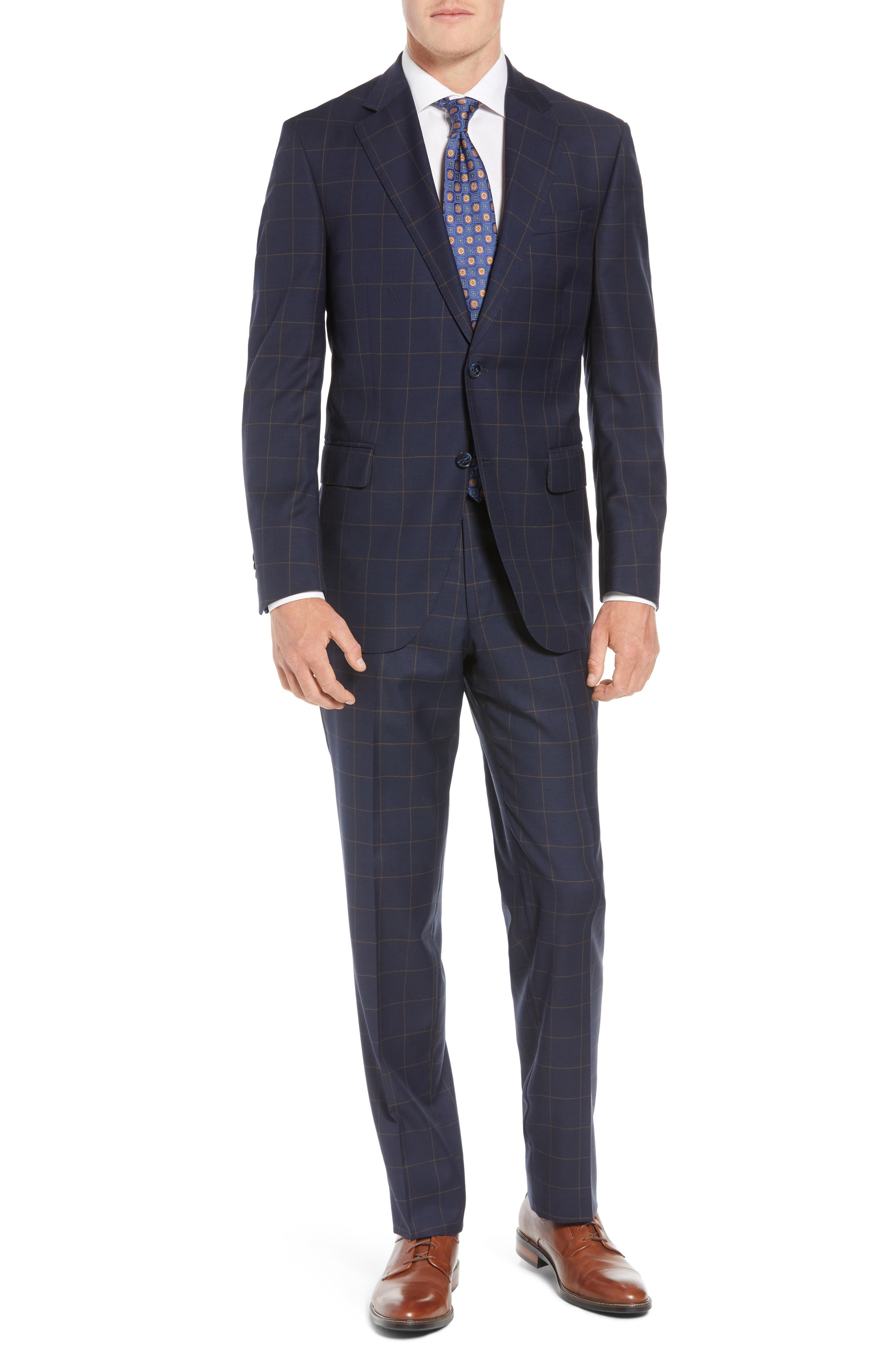 PETER MILLAR,                             Flynn Classic Fit Windowpane Wool Suit,                             Main thumbnail 1, color,                             NAVY