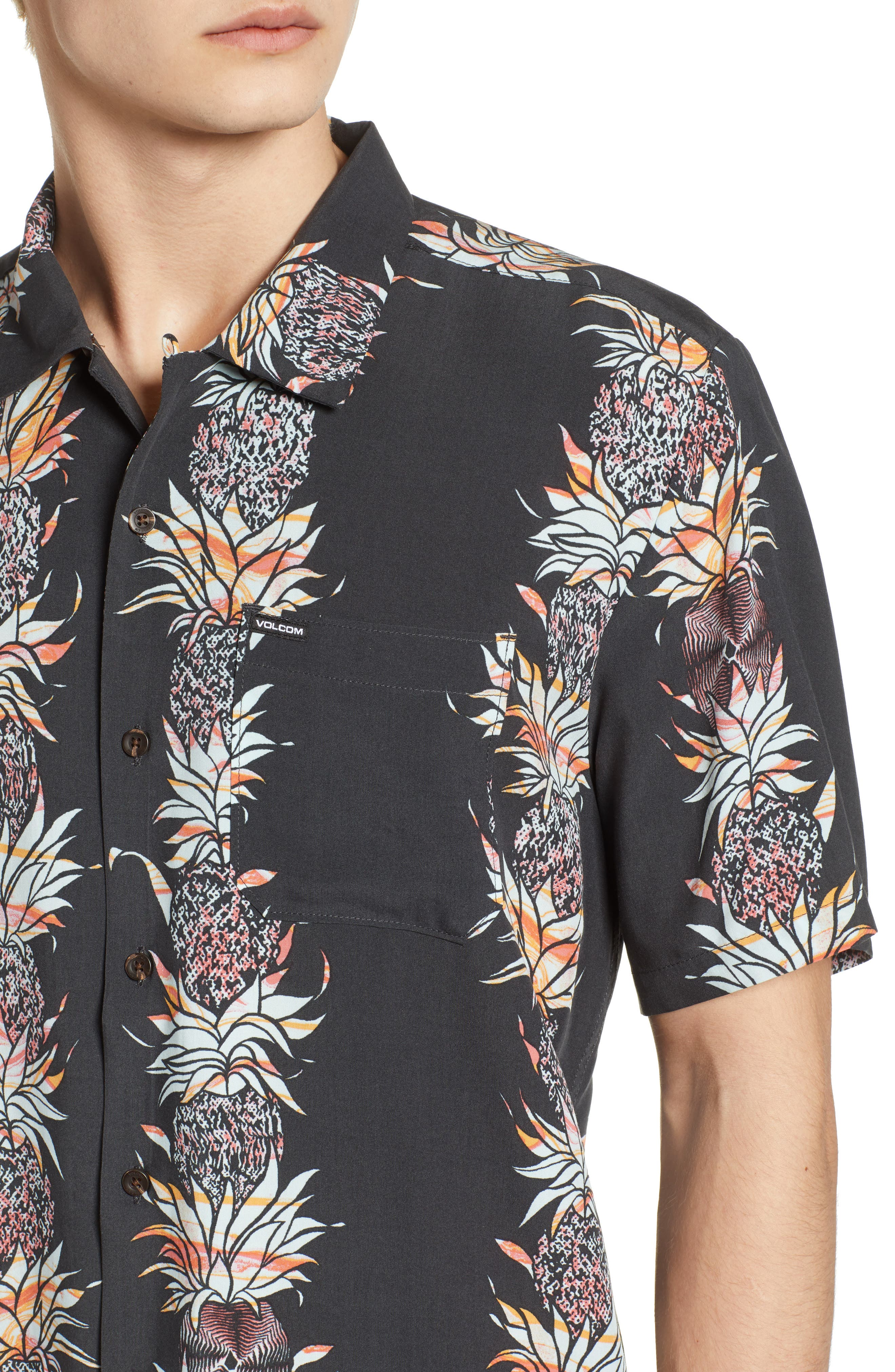 Palm Glitch Woven Shirt,                             Alternate thumbnail 6, color,